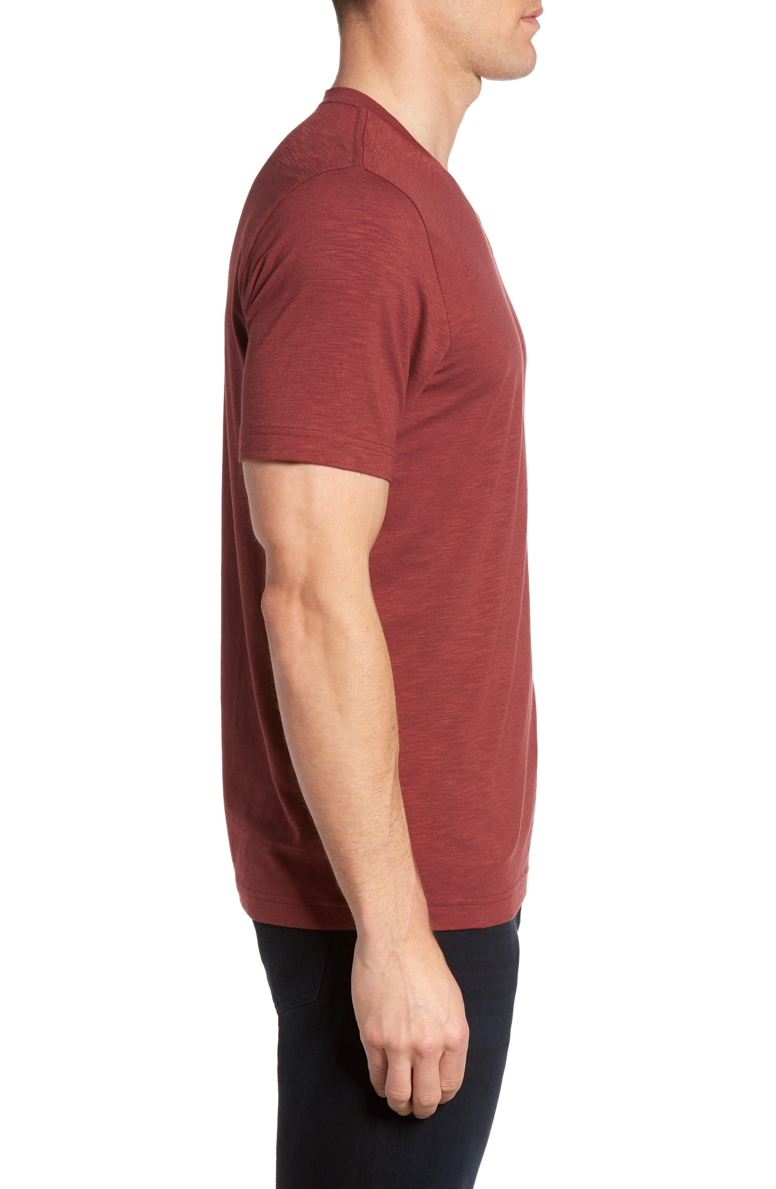 'Trumbull' Trim Fit Slubbed T-Shirt,                             Alternate thumbnail 3, color,                             Oxblood