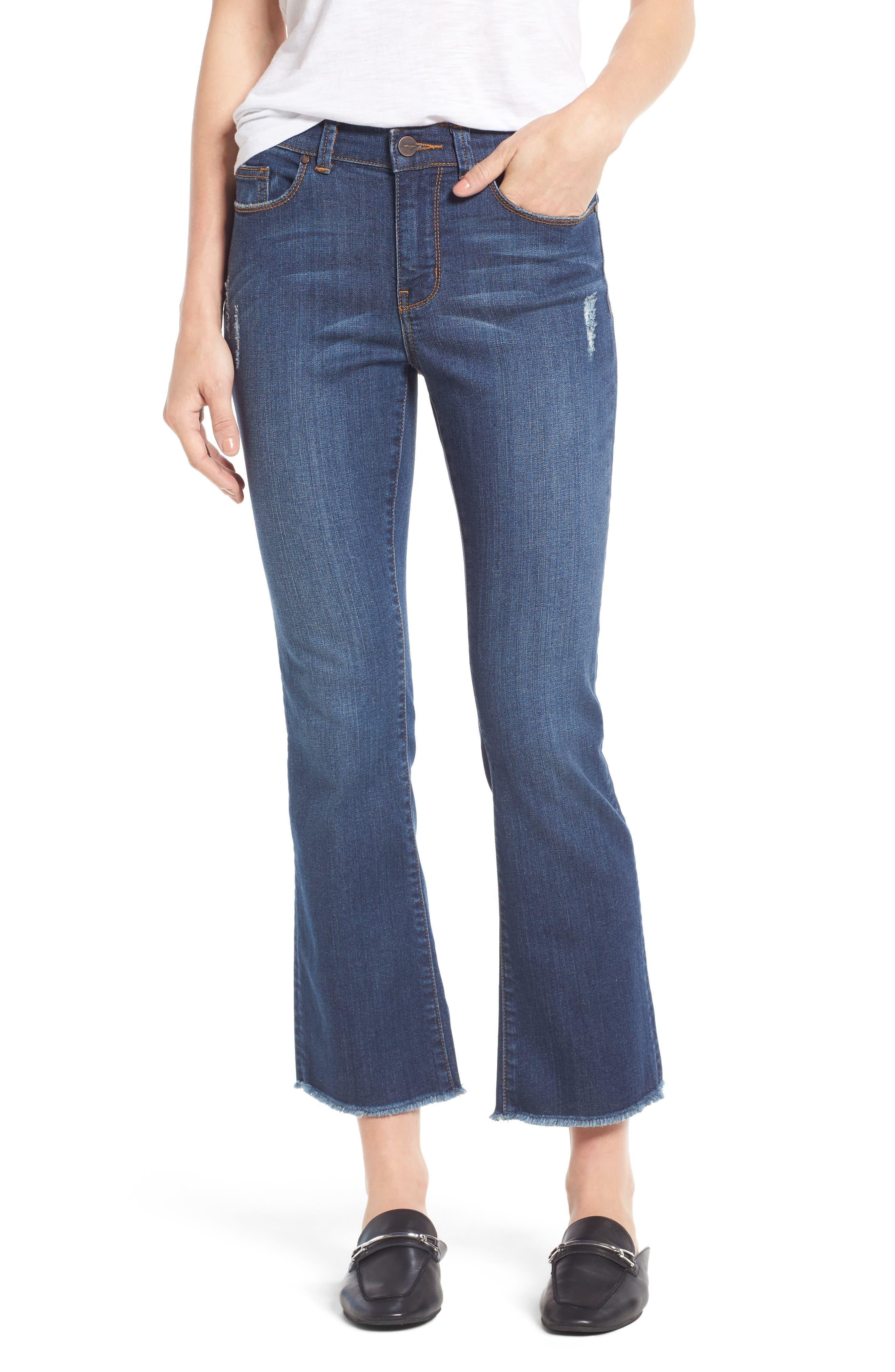 Halogen® Raw Hem Stretch Straight Leg Jeans (Stardust) (Regular & Petite)