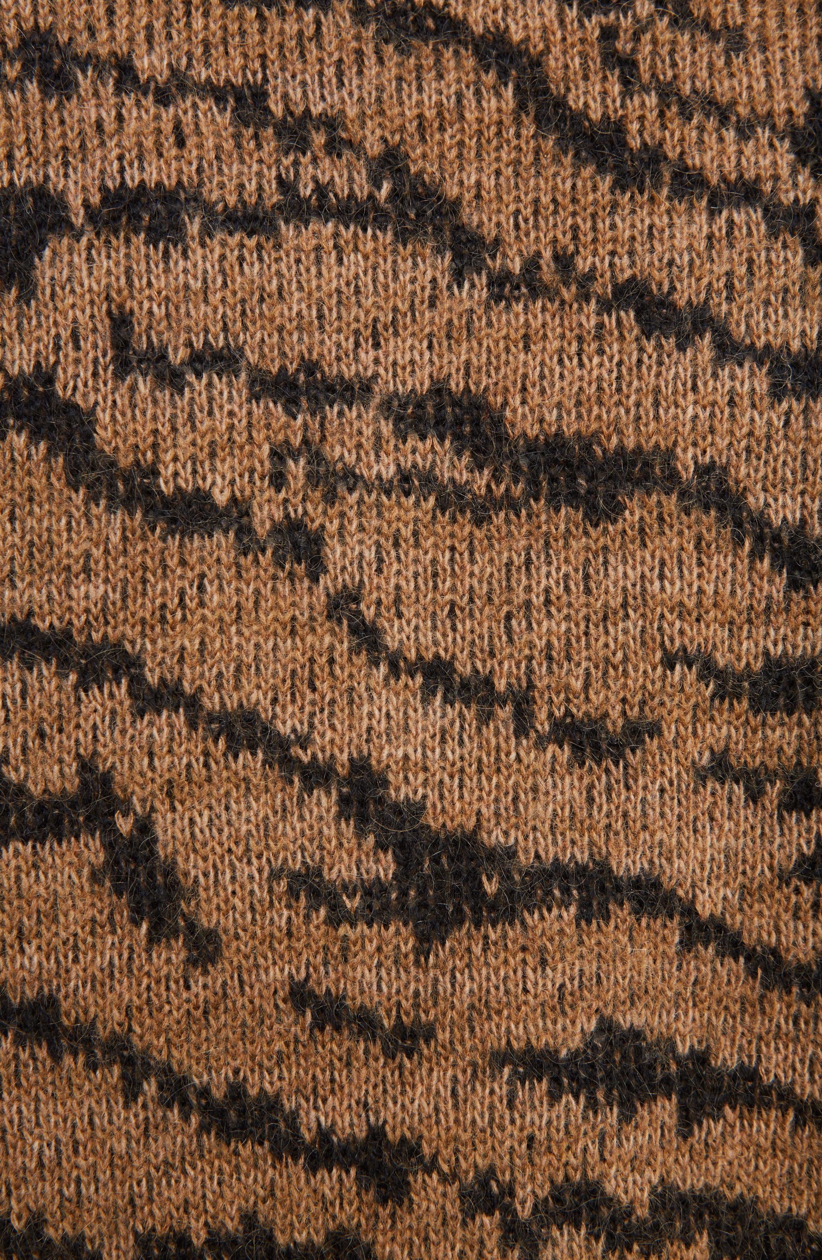Tiger Jacquard Knit Button Cardigan,                             Alternate thumbnail 3, color,                             Beige
