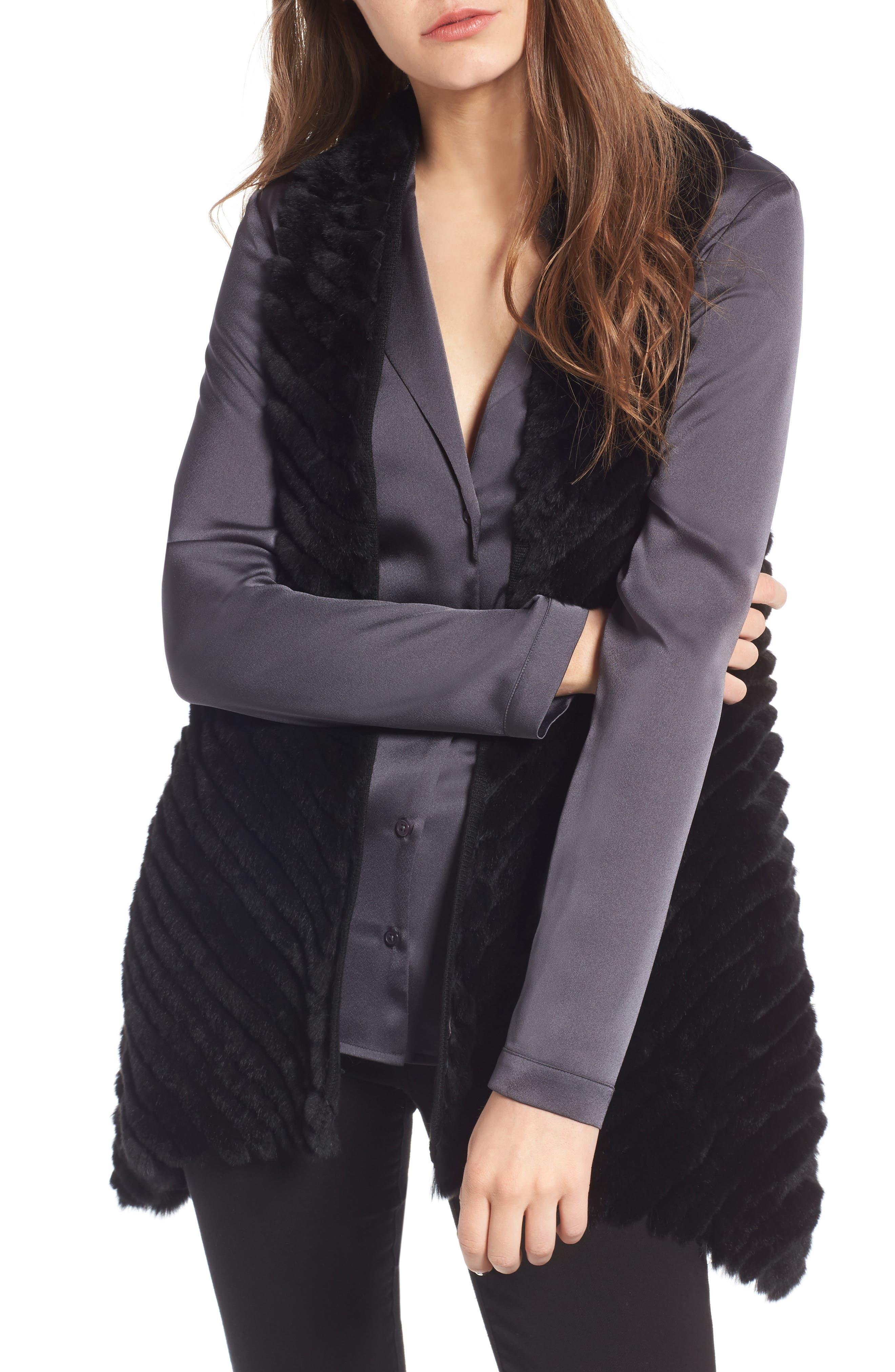 Genuine Rabbit Fur Vest,                         Main,                         color, Black