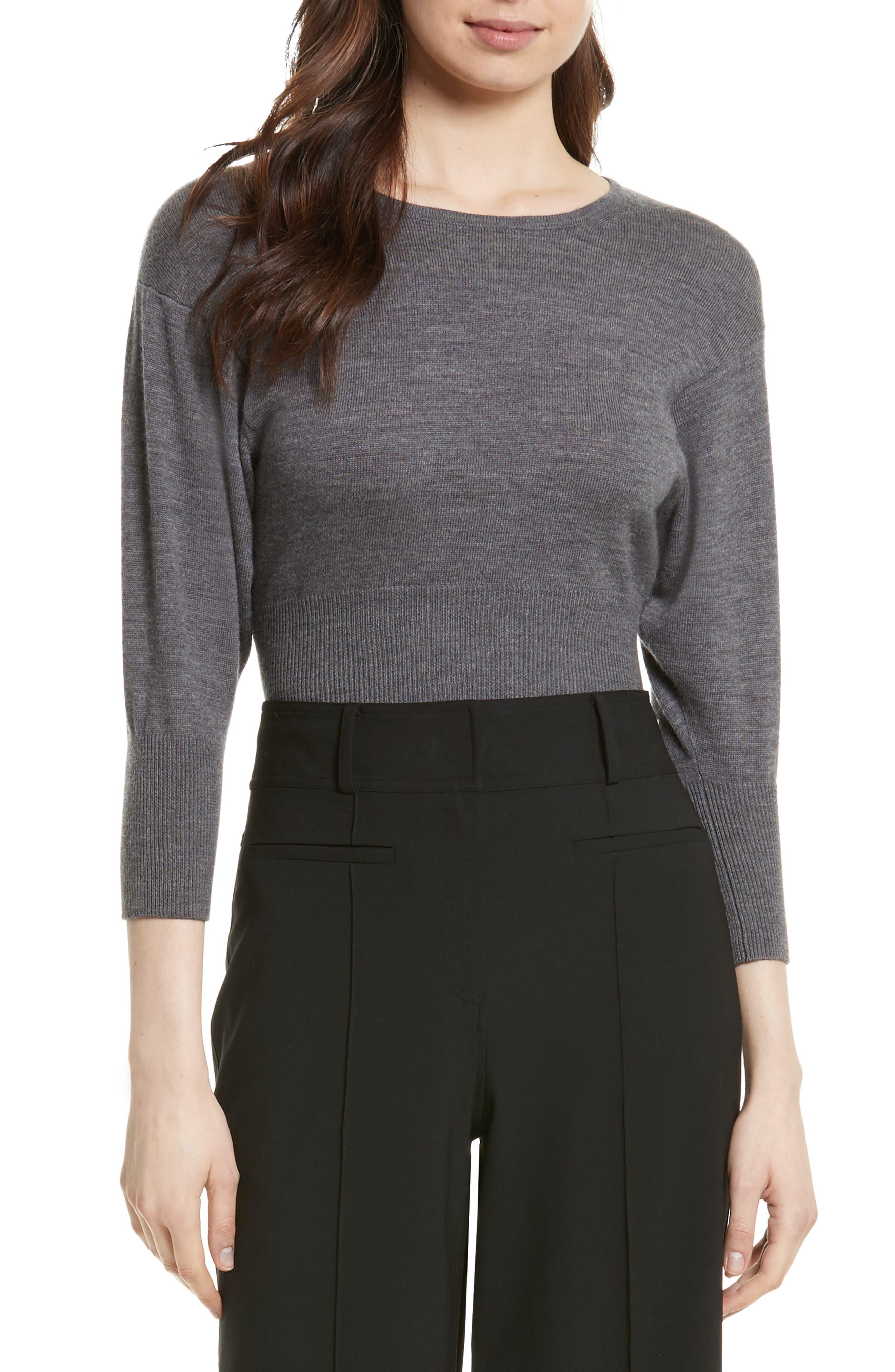 Merino Crop Sweater,                         Main,                         color, Ash Melange