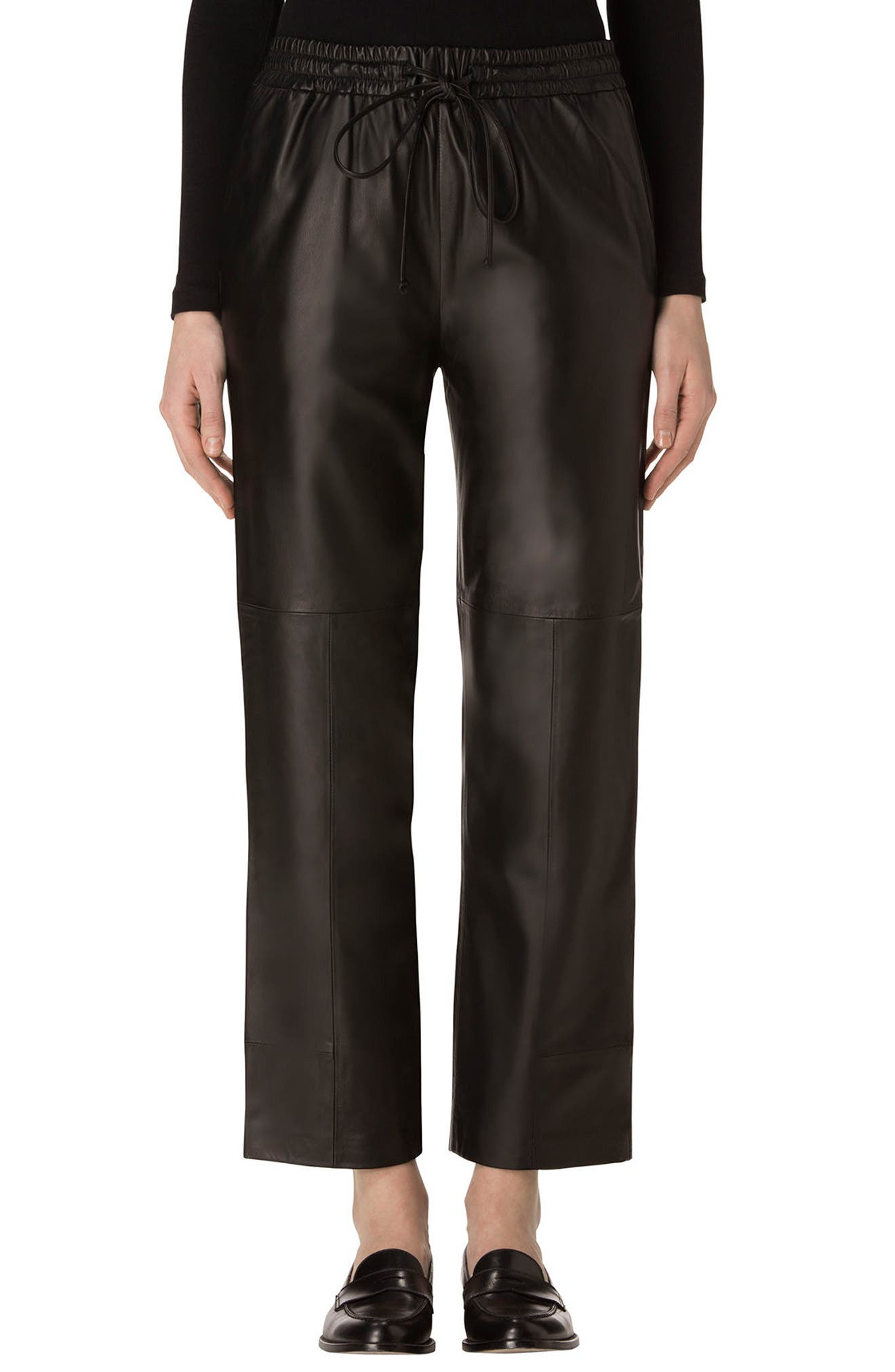 Amari Crop Leather Pants,                         Main,                         color, Black
