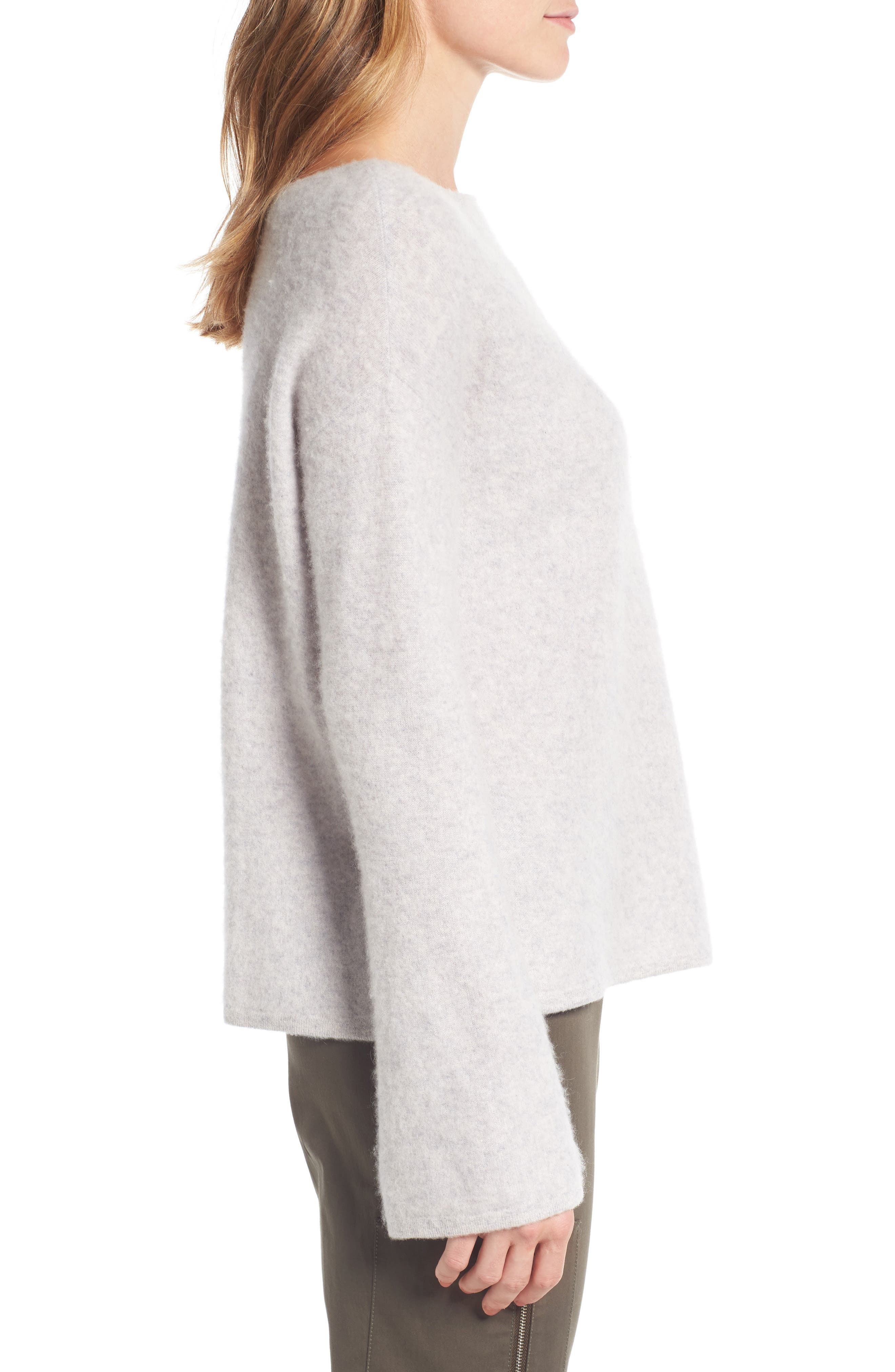 Boiled Cashmere Pullover,                             Alternate thumbnail 4, color,                             Grey Clay Heather