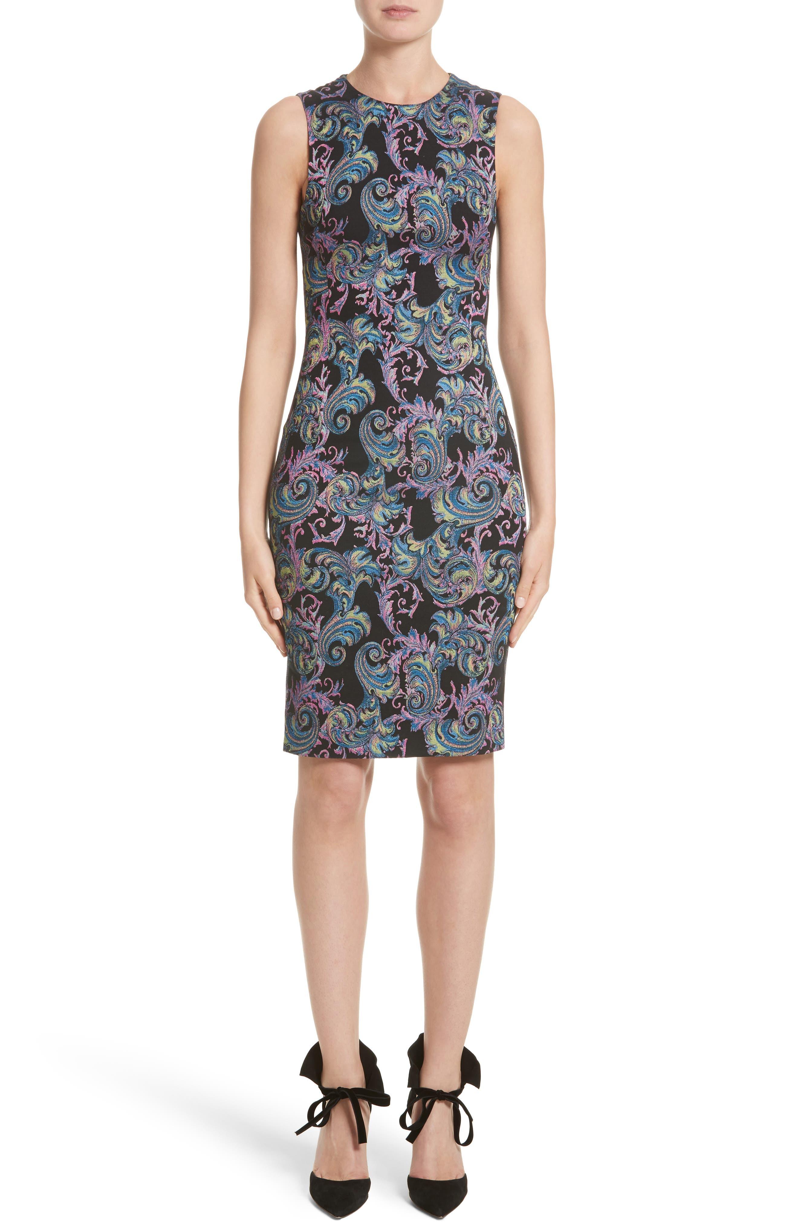 Collection Jacquard Sheath Dress,                             Main thumbnail 1, color,                             Black Multi