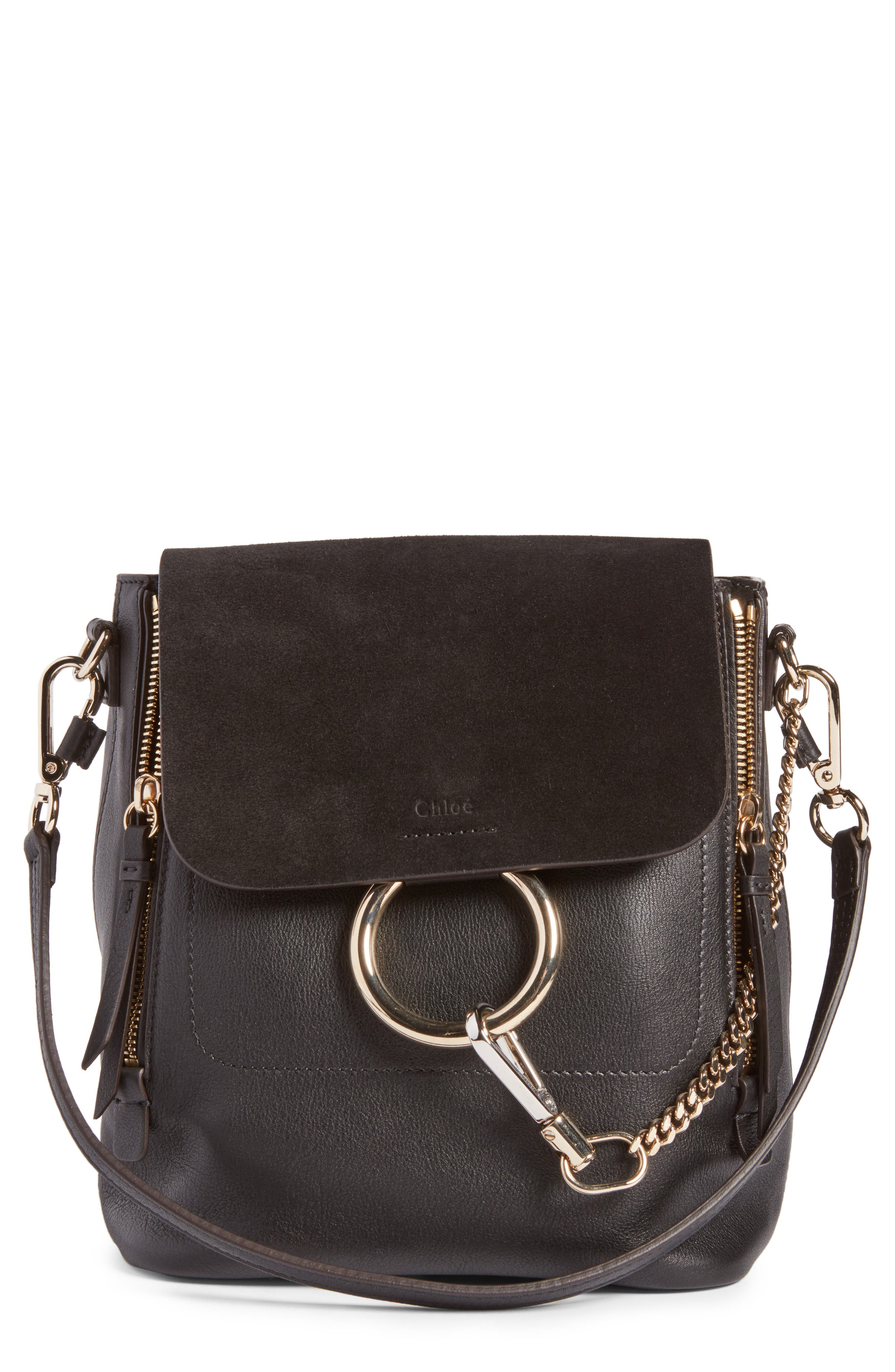 Small Faye Suede & Leather Backpack,                         Main,                         color, Black