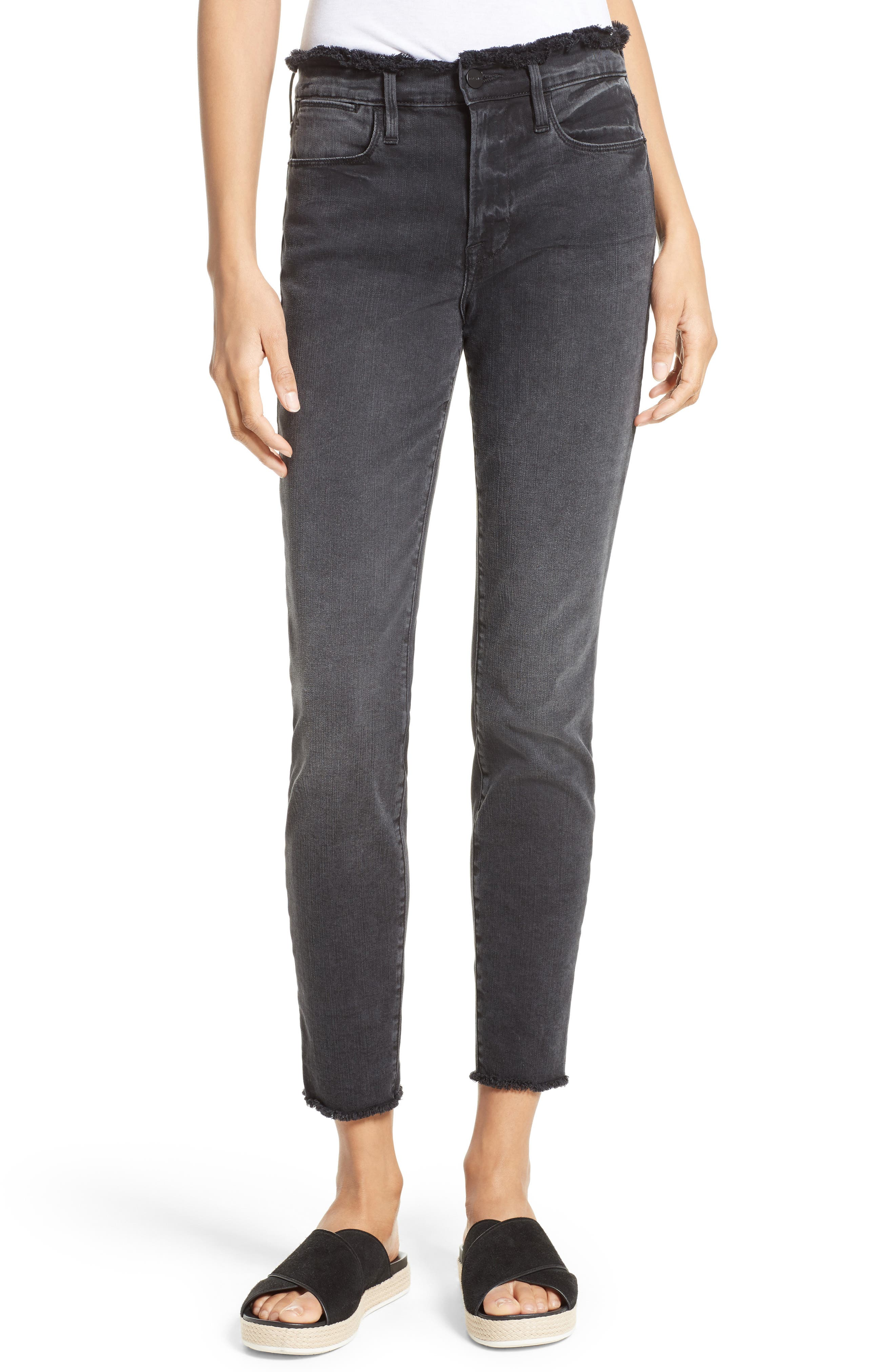 Main Image - FRAME Le High Skinny Frayed High Waist Jeans (Cottonwood) (Nordstrom Exclusive)