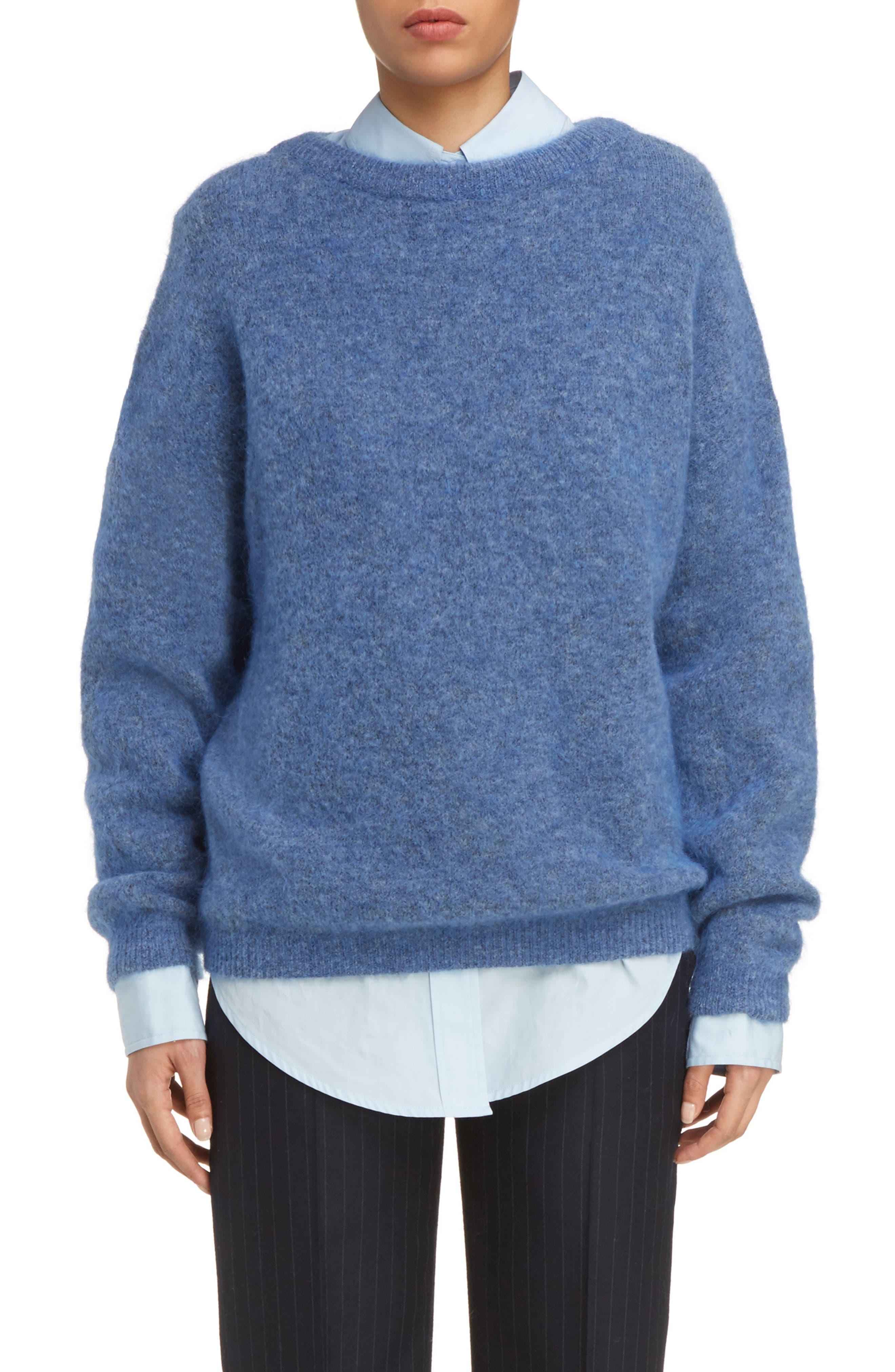 Dramatic Oversized Mohair Blend Sweater,                         Main,                         color, Blue Melange