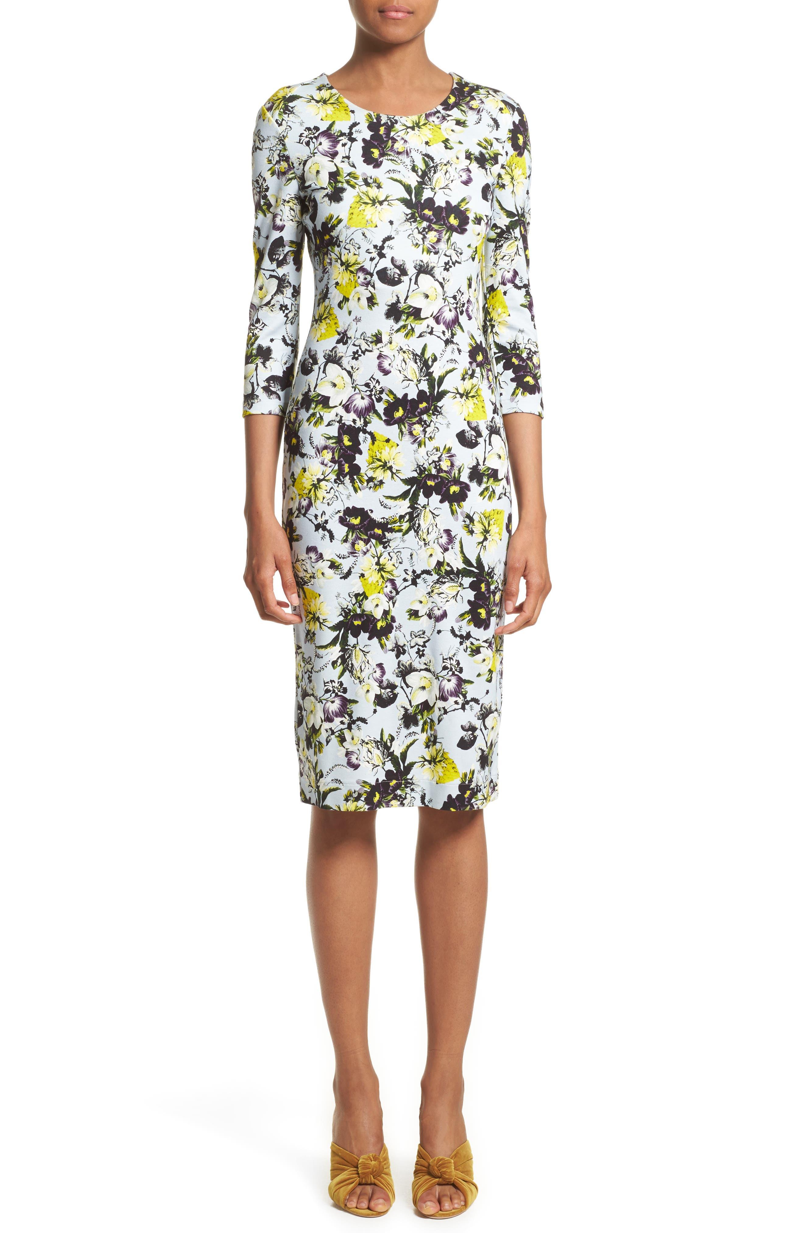 Floral Jersey Sheath Dress,                         Main,                         color, Lemon Yellow/ Pale Blue