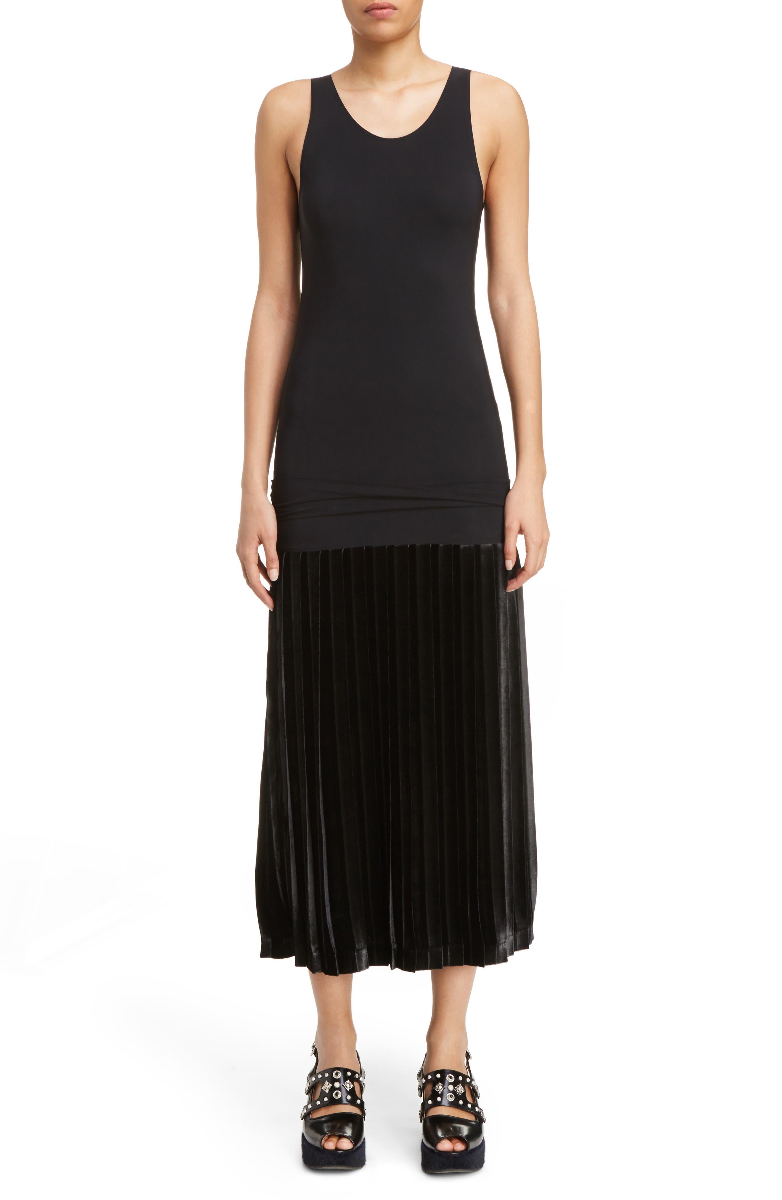Velvet Skirt Tank Dress,                         Main,                         color, Black
