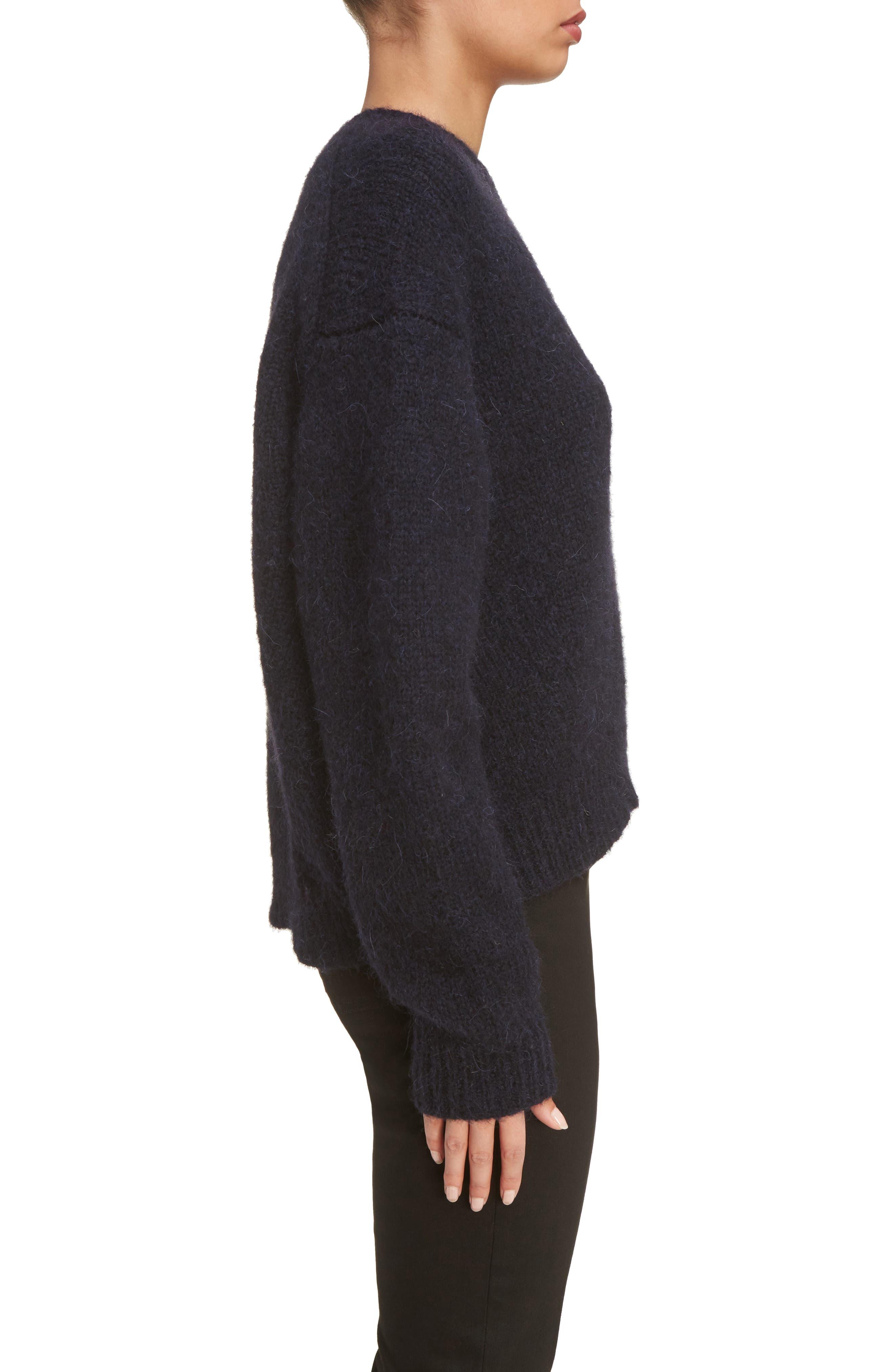 Karel Oversize Merino Sweater,                             Alternate thumbnail 3, color,                             Black