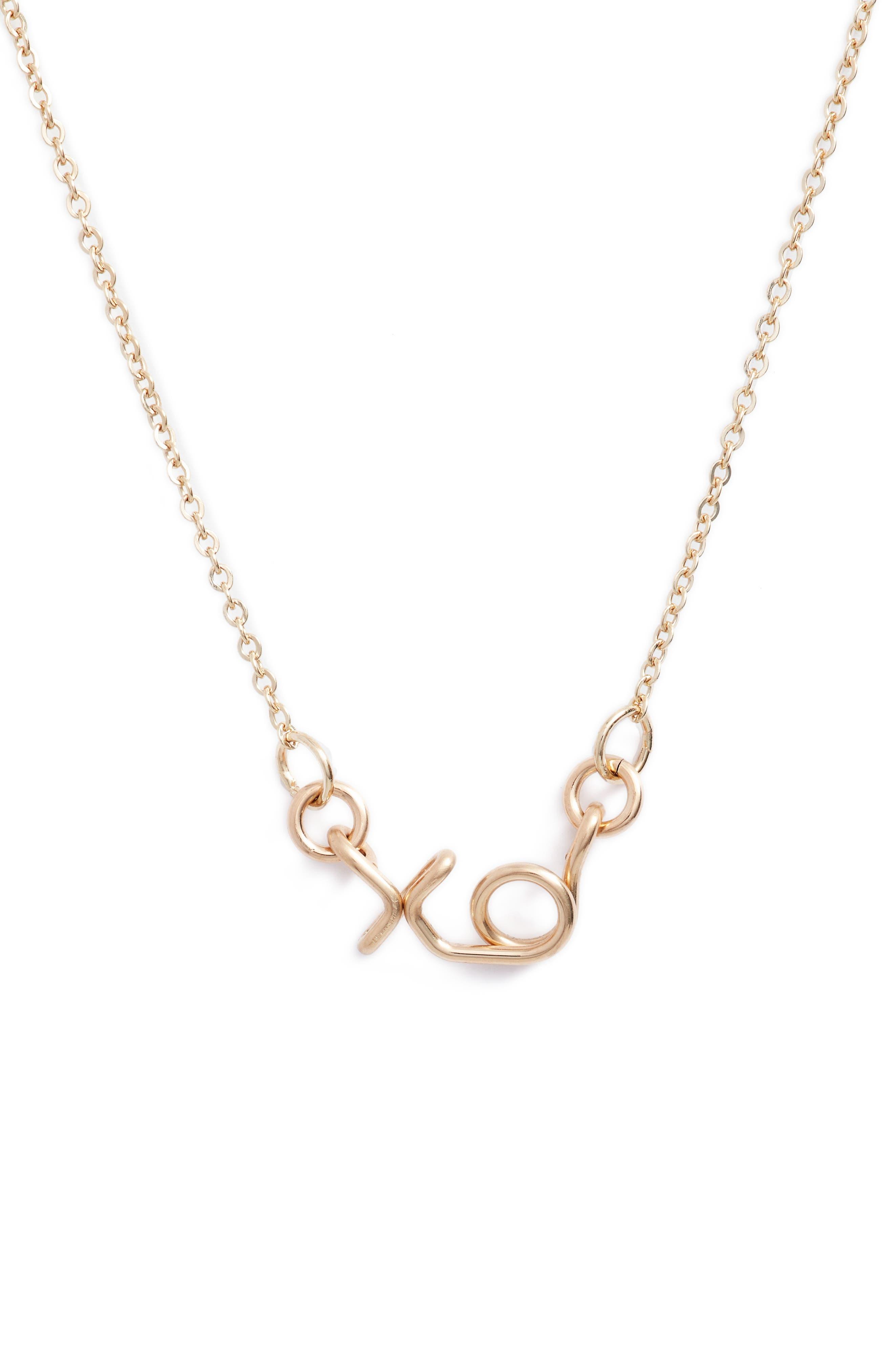 Mini XO Pendant Necklace,                             Main thumbnail 1, color,                             Gold