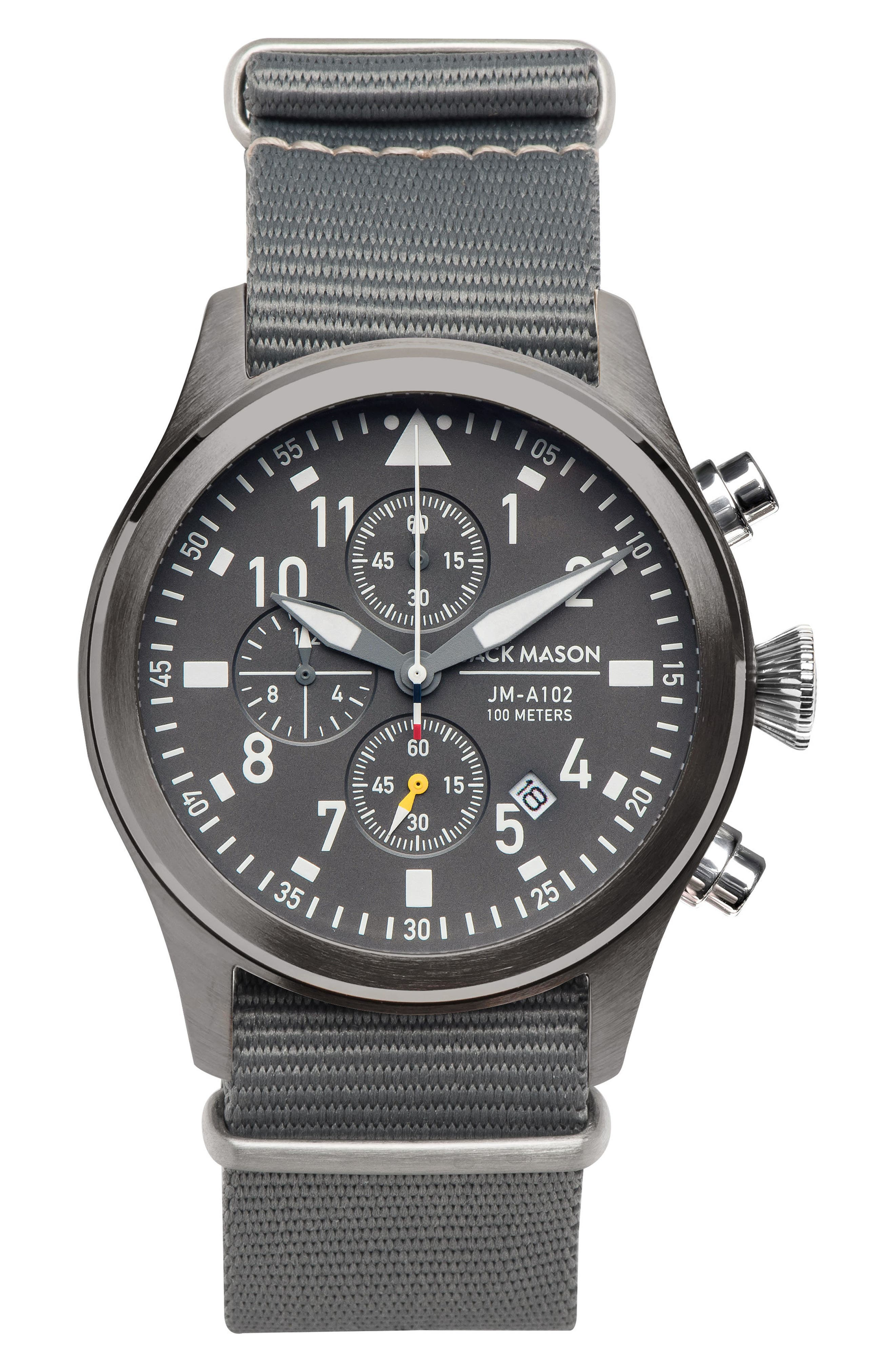 Aviation Chronograph NATO Strap Watch 42mm,                         Main,                         color, Grey/ Grey
