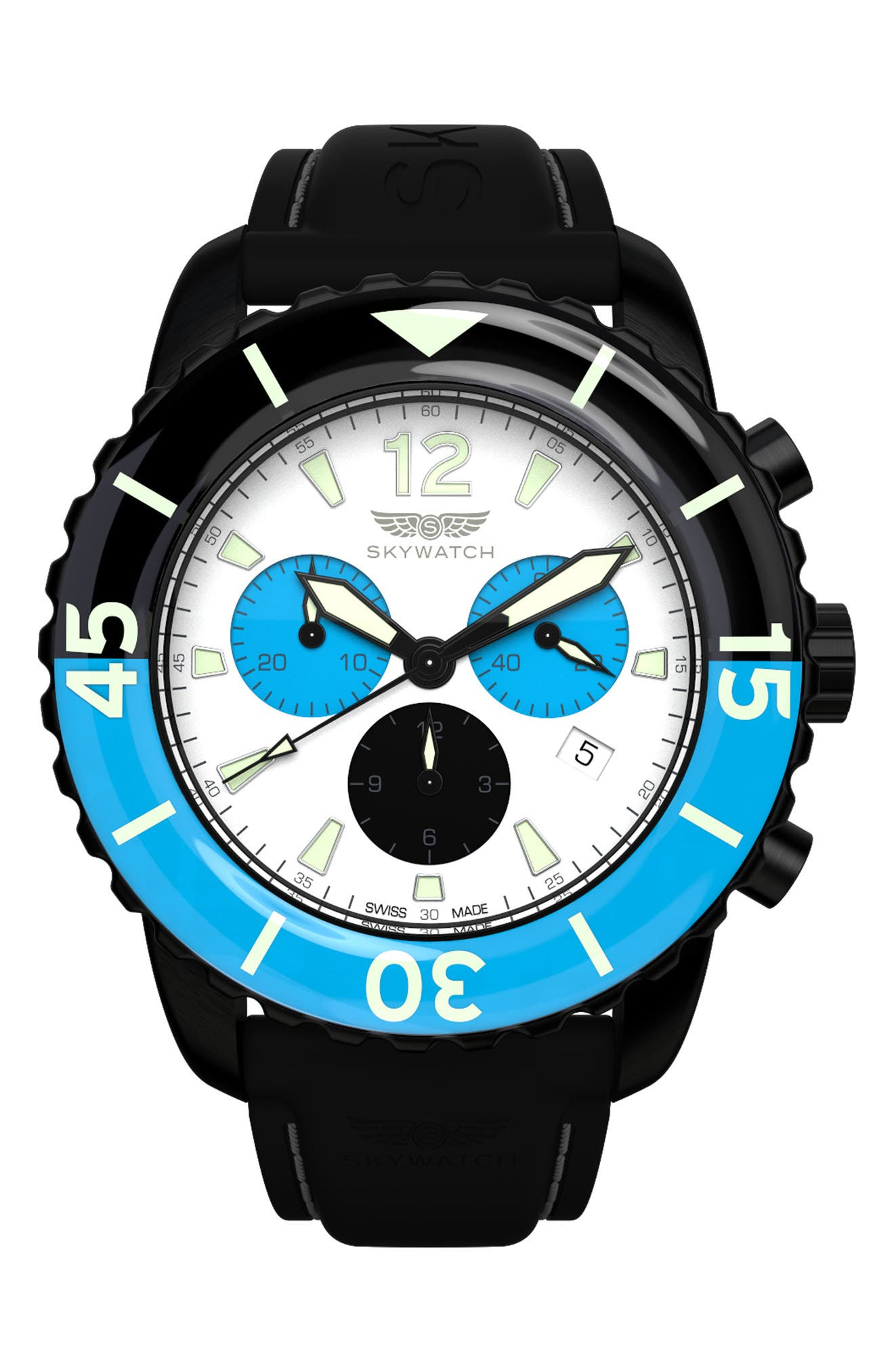 Main Image - SKYWATCH Classic Chronograph Silicone Strap Watch, 44mm