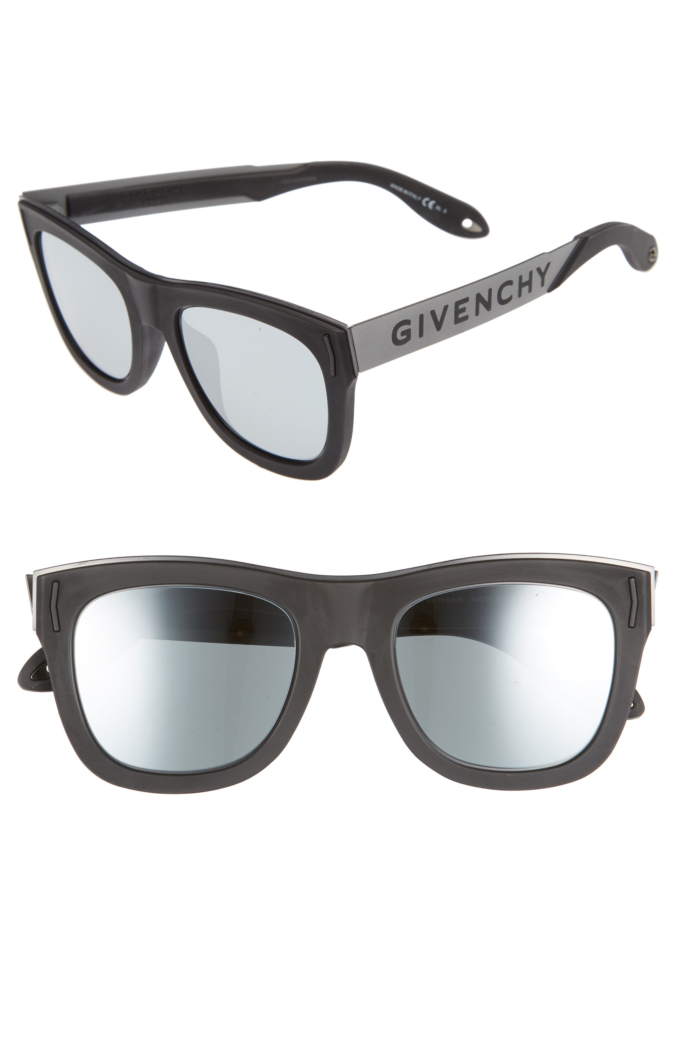 52mm Gradient Lens Sunglasses,                         Main,                         color, Black Silver