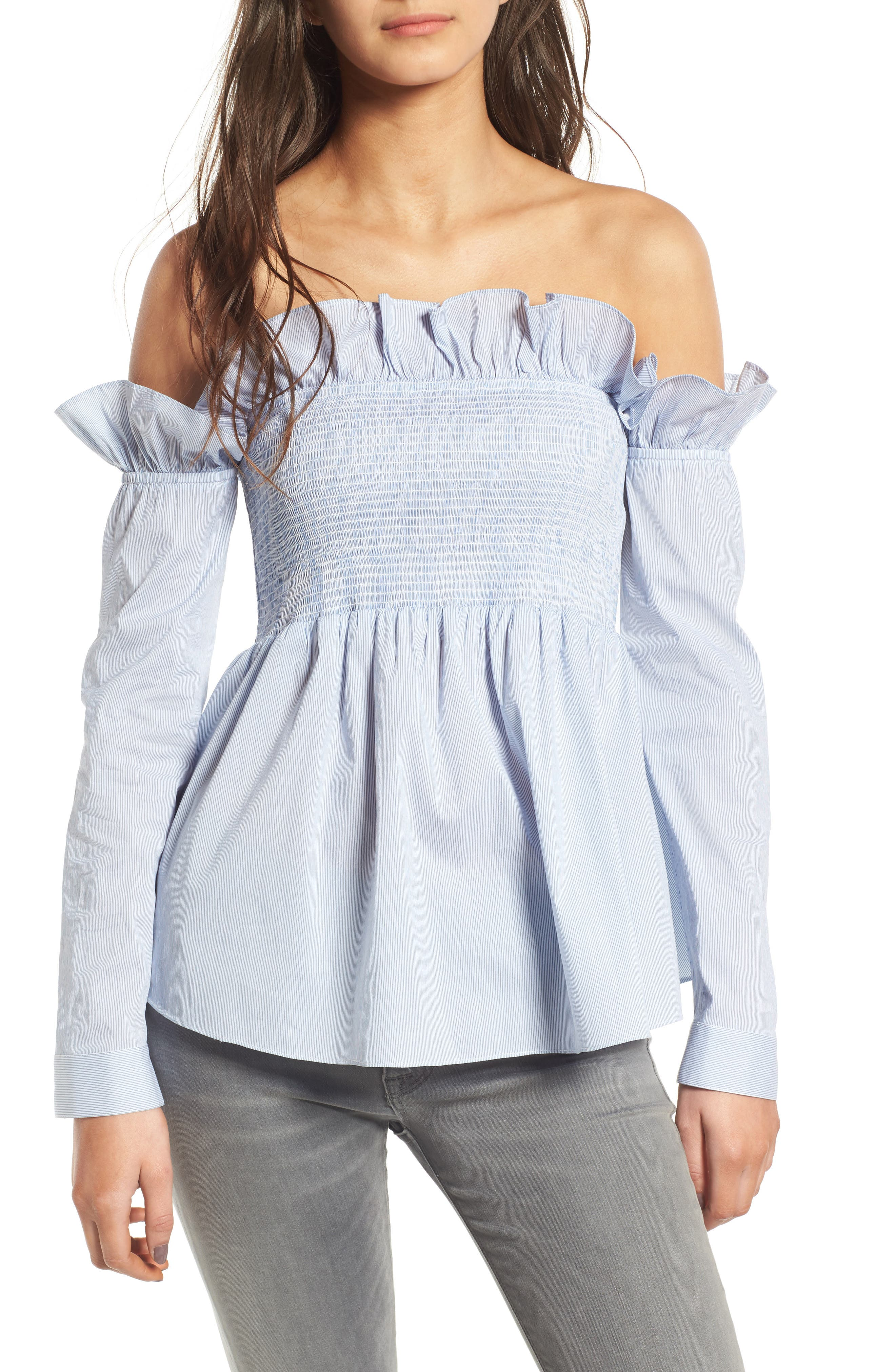 Main Image - Chelsea28 Ruffle Smocked Off the Shoulder Top