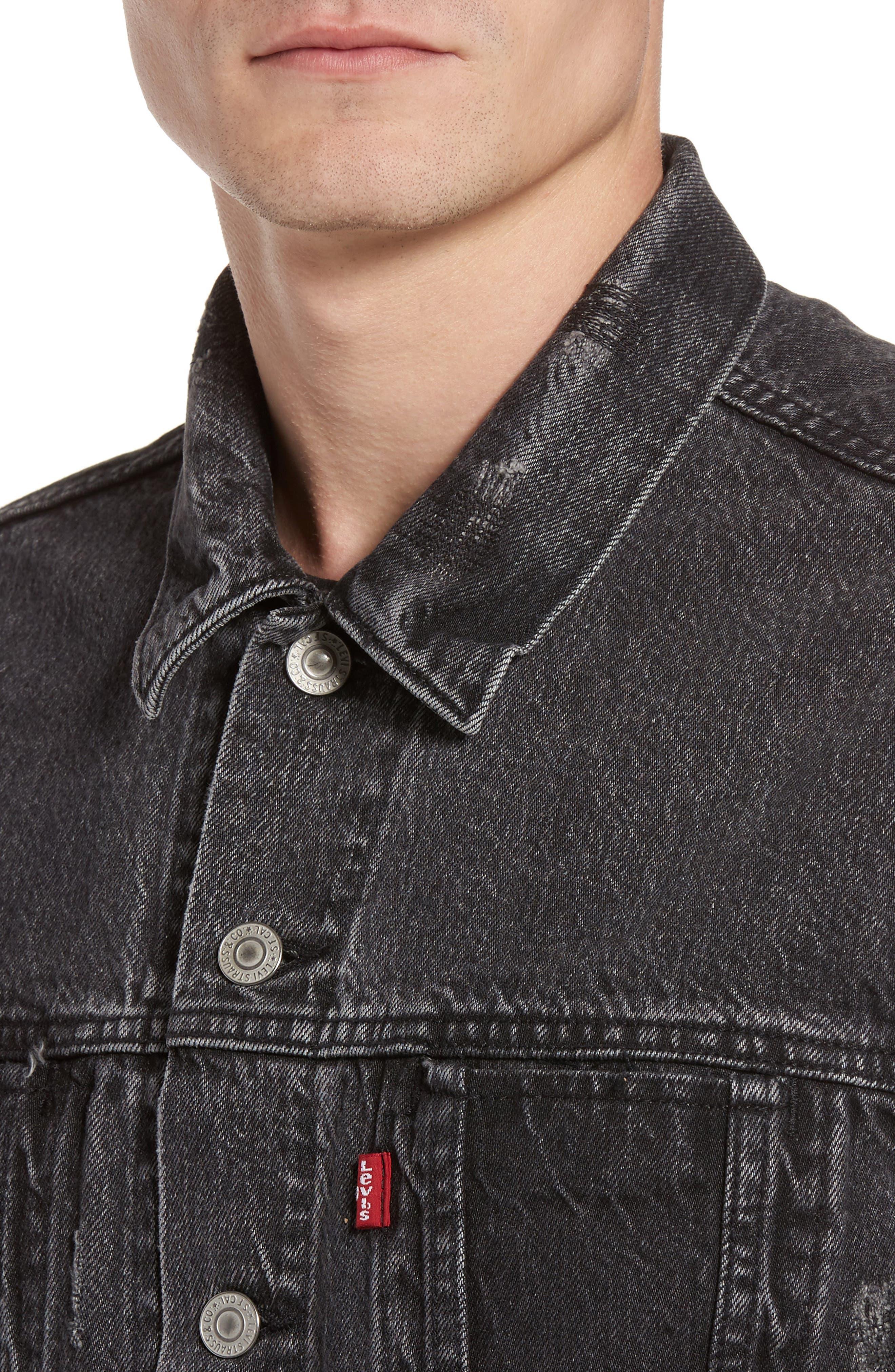 Alternate Image 4  - Levi's® Altered Distressed Denim Trucker Jacket