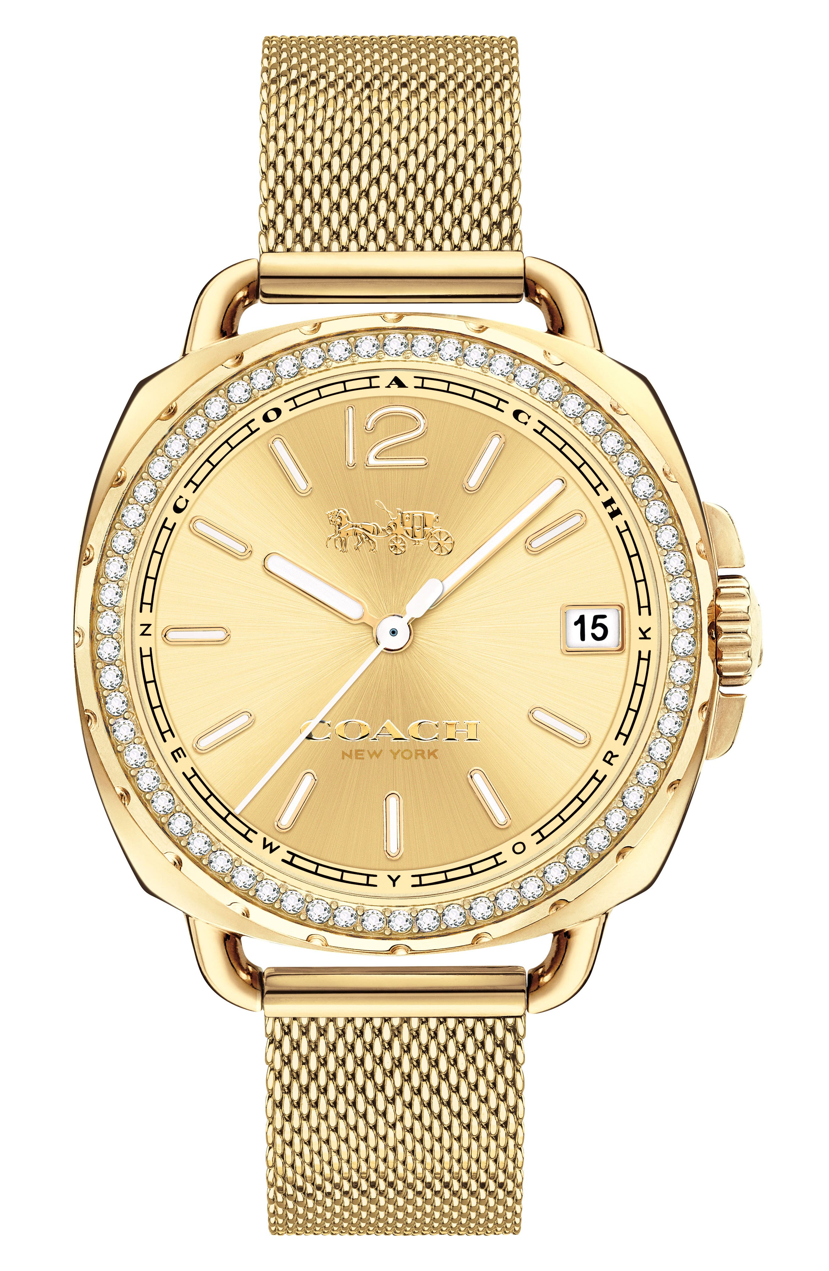 Tatum Crystal Mesh Strap Watch, 35mm,                         Main,                         color, Gold