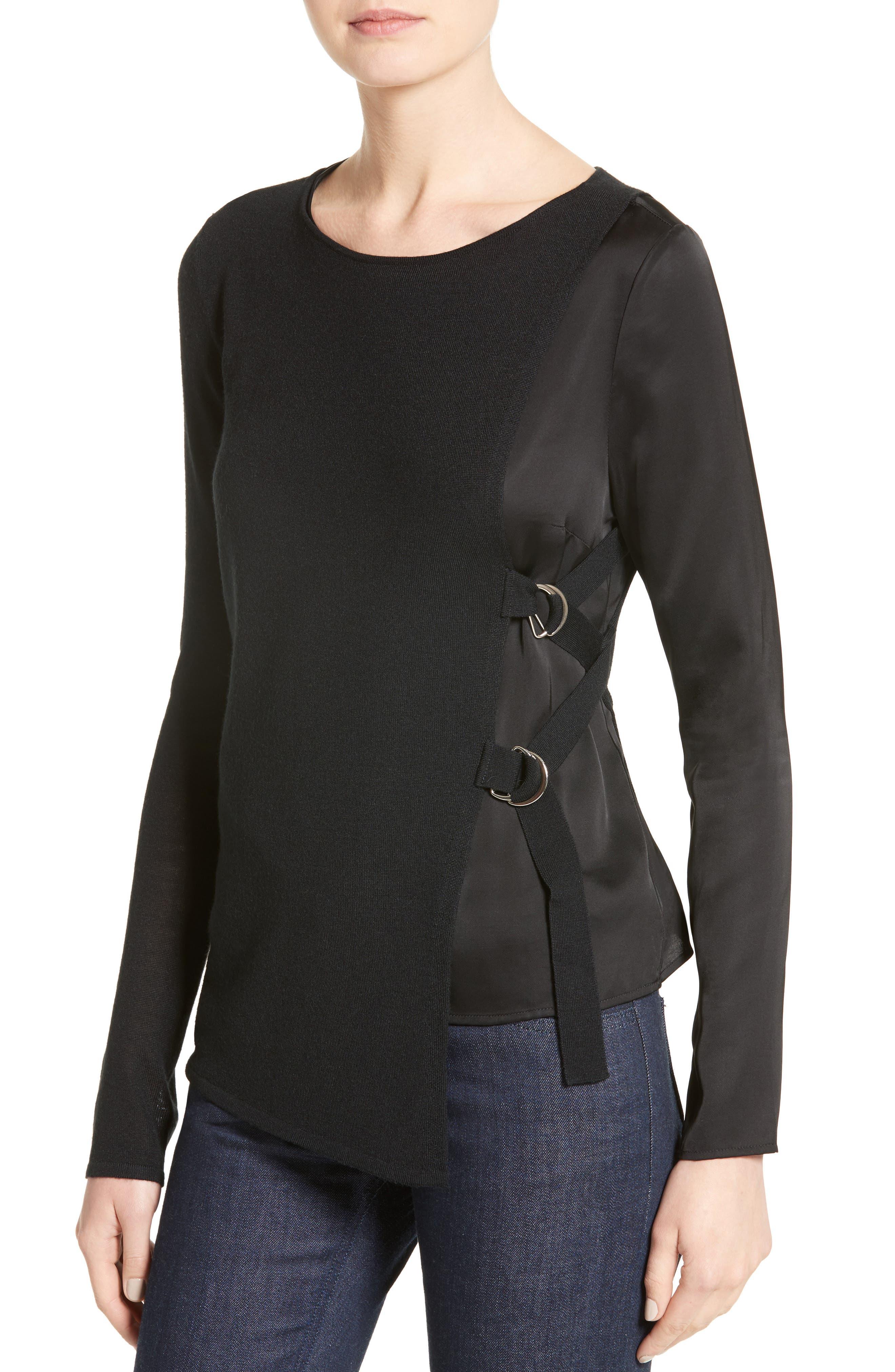 Armani Jeans D-Ring Wool Blend Sweater,                             Alternate thumbnail 4, color,                             Black
