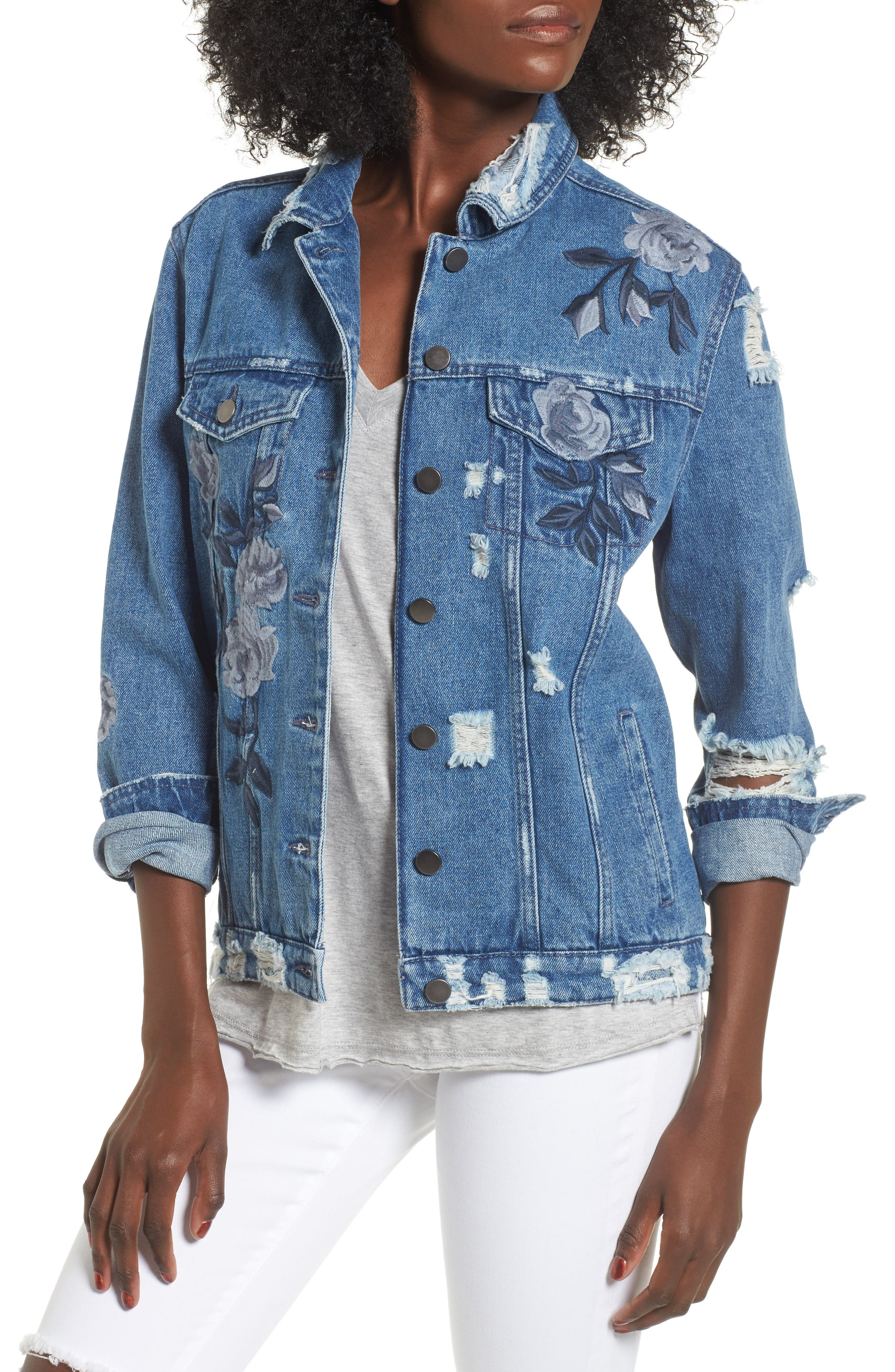 LOVE, FIRE Floral Embroidered Ripped Denim Jacket