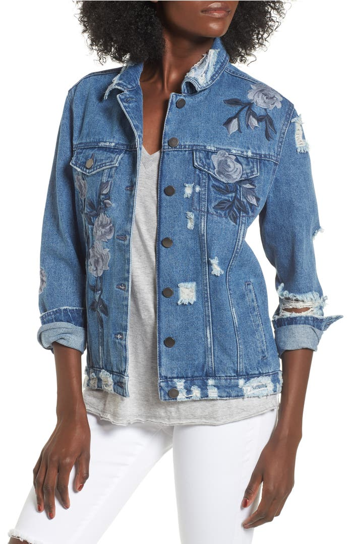 Love fire floral embroidered ripped denim jacket nordstrom