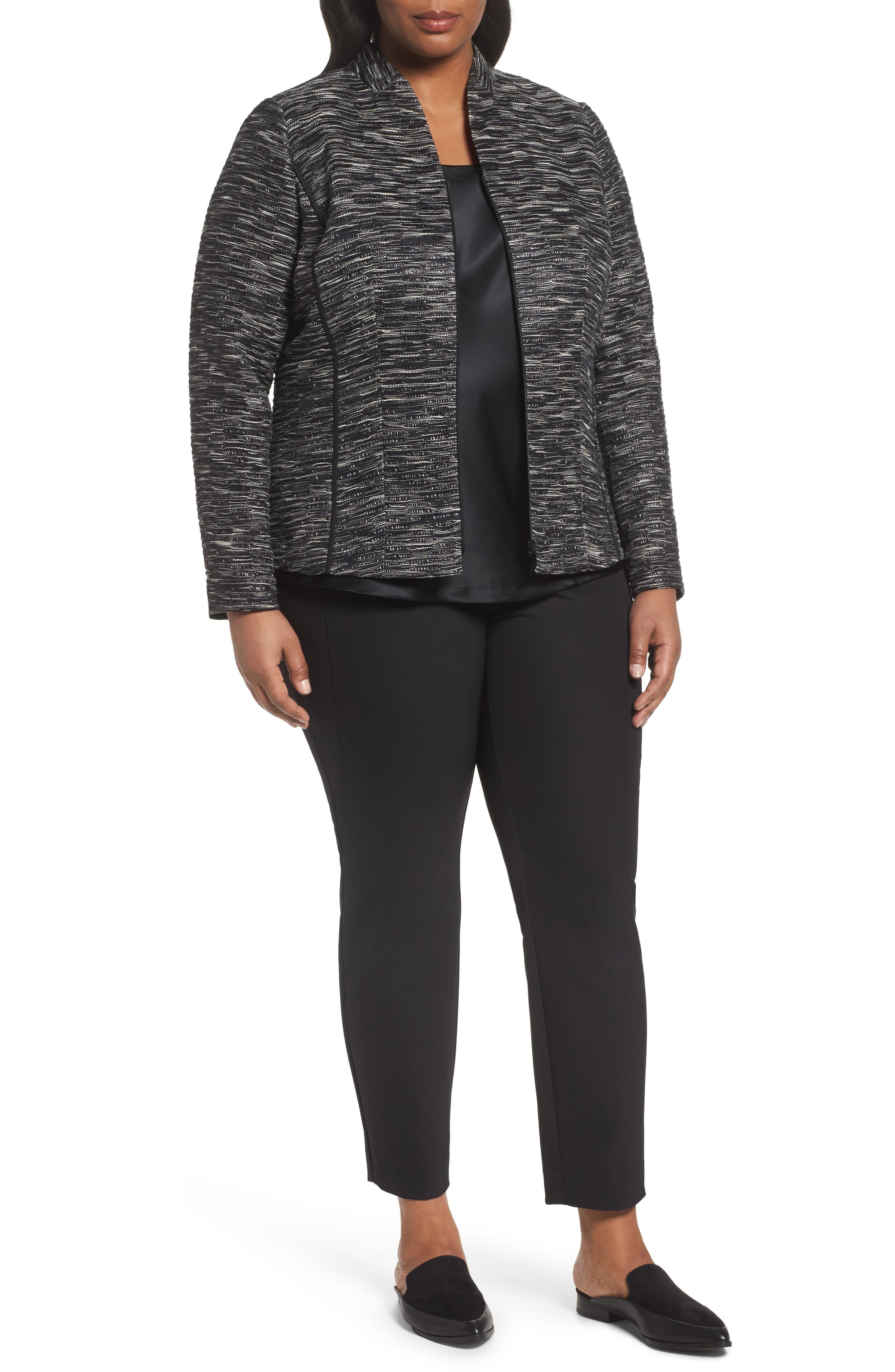 Meryl Zip Front Jacket,                             Main thumbnail 1, color,                             Black Multi
