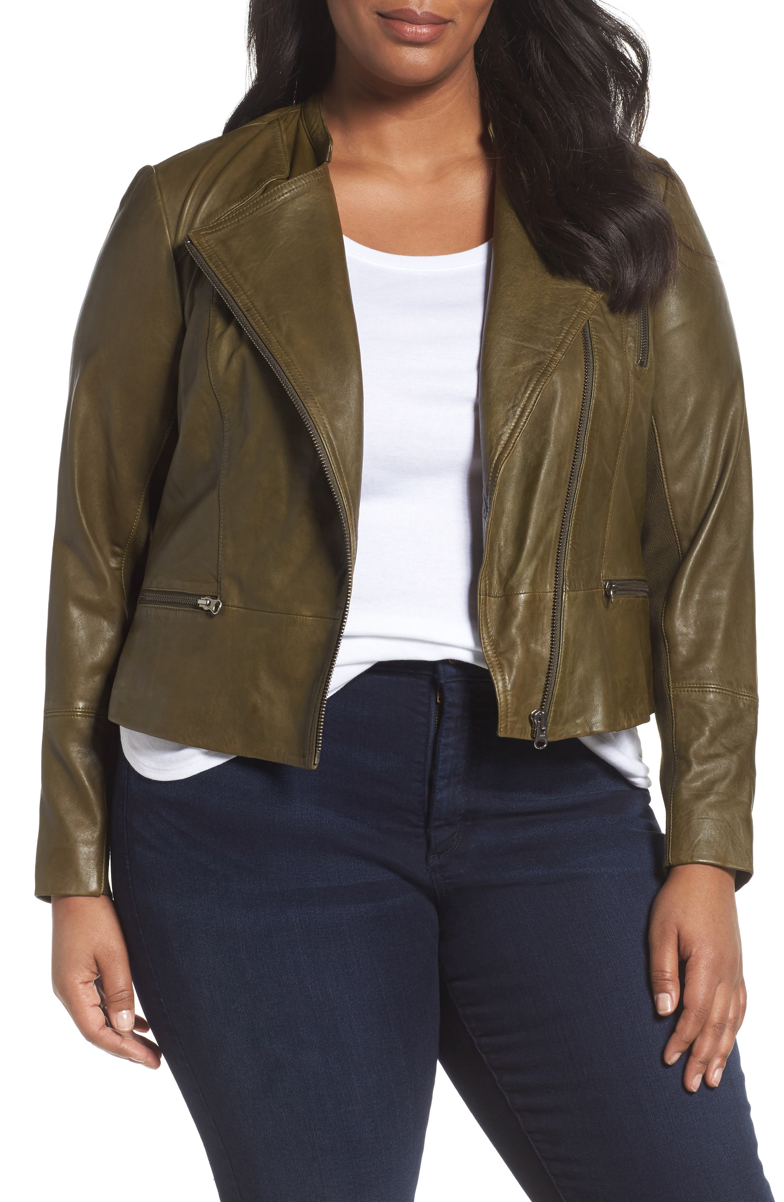 Leather Moto Jacket,                             Main thumbnail 1, color,                             Olive Dark