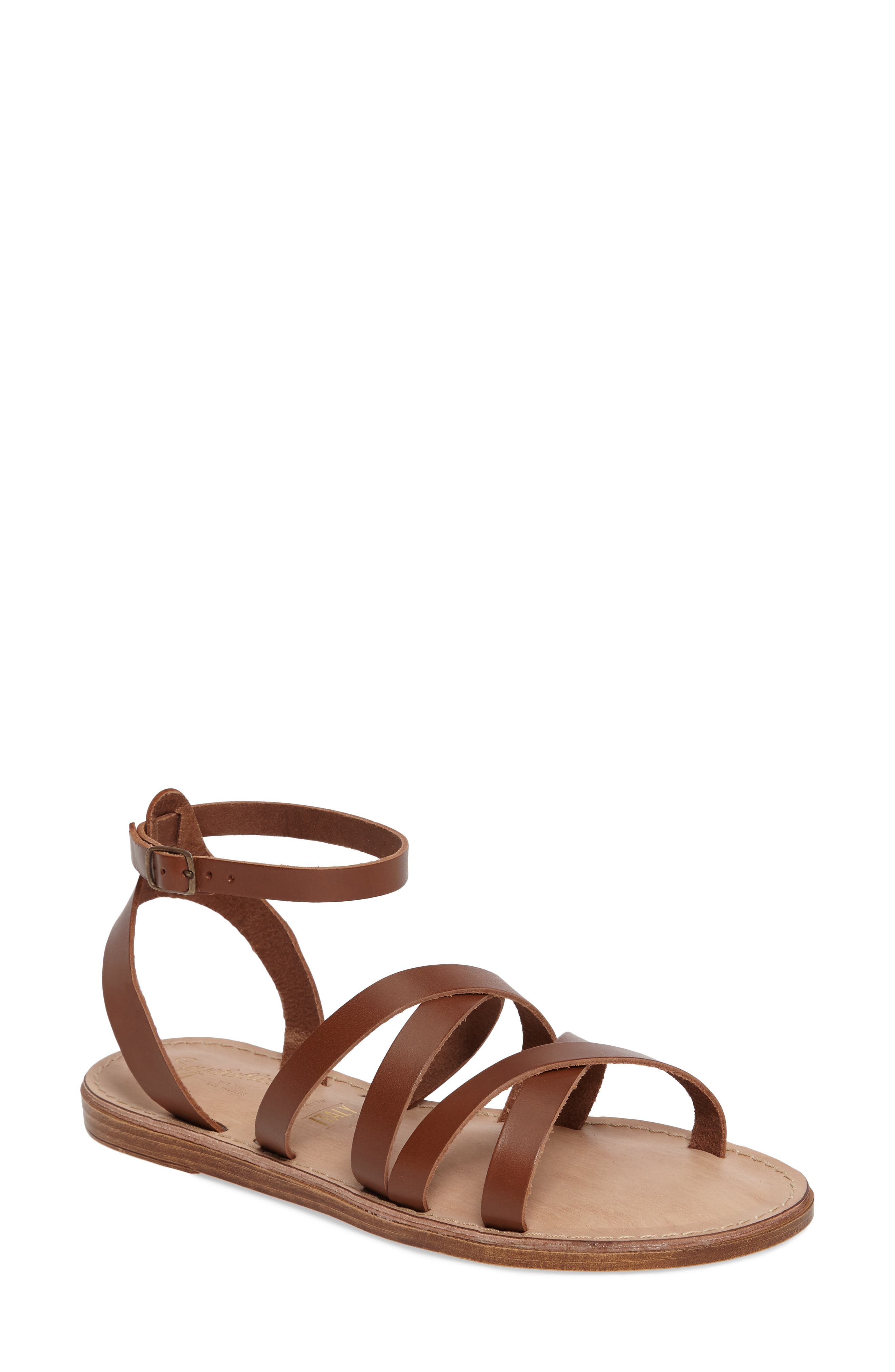 In the Shadows Sandal,                         Main,                         color, Whiskey Leather
