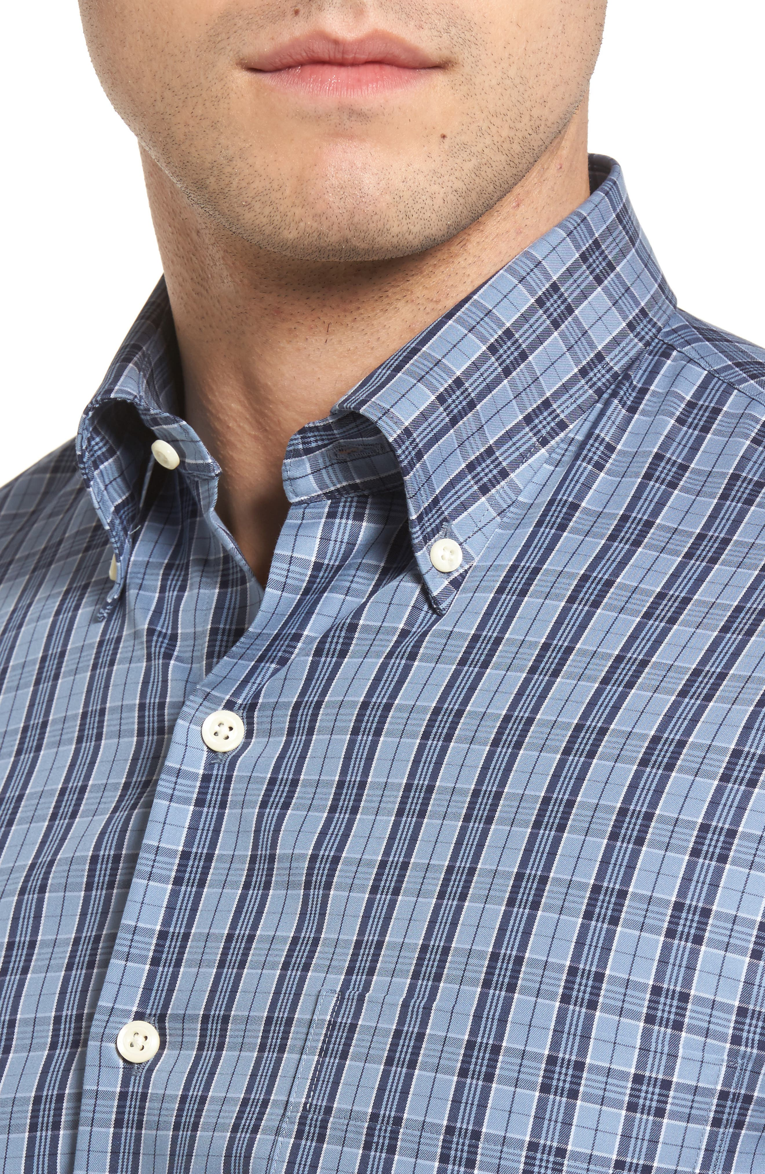 Alternate Image 4  - Peter Millar Regular Fit Short Sleeve Stormy Plaid Sport Shirt
