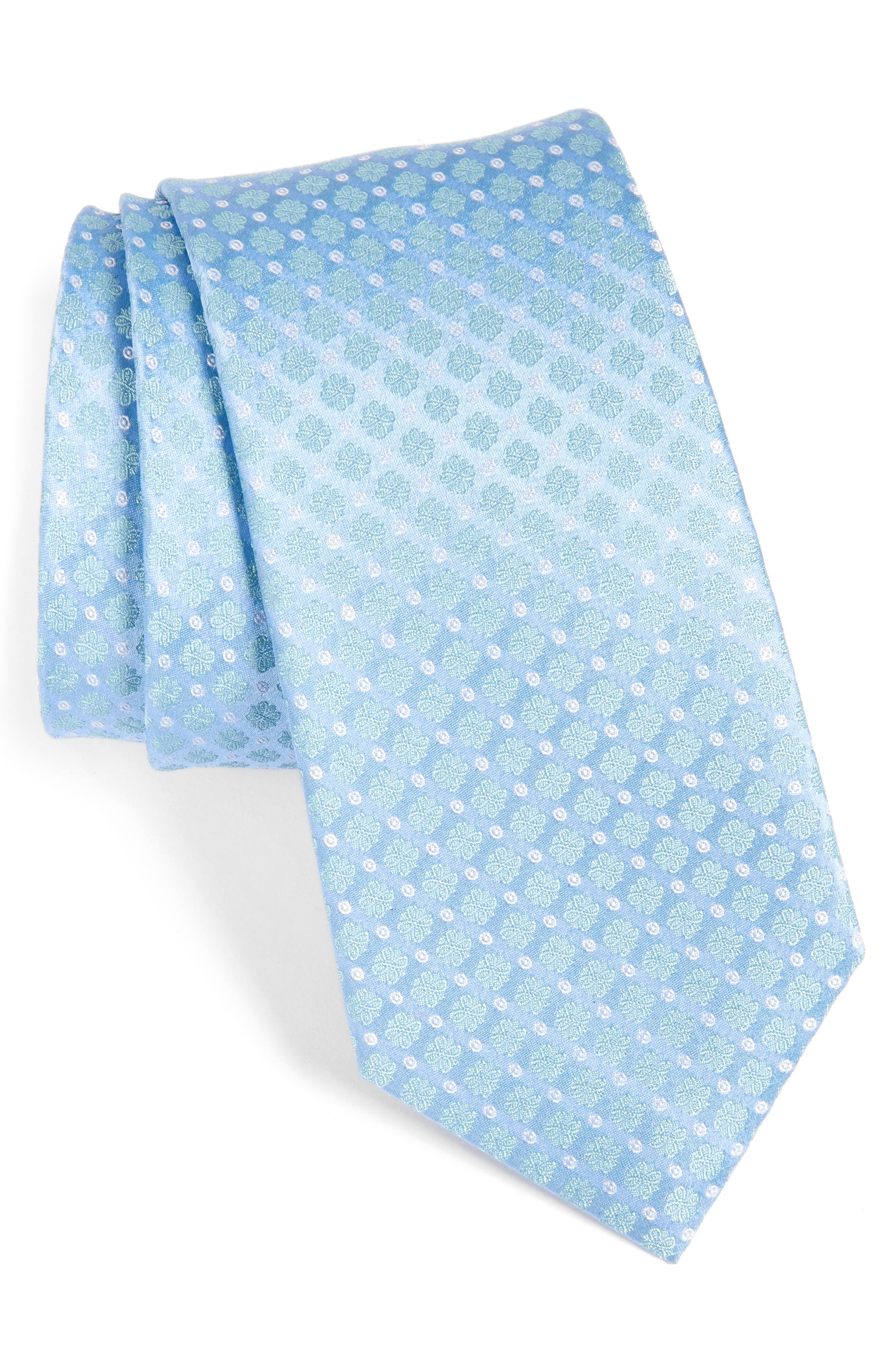 Forget Me Not Floral Silk Tie,                         Main,                         color, Green