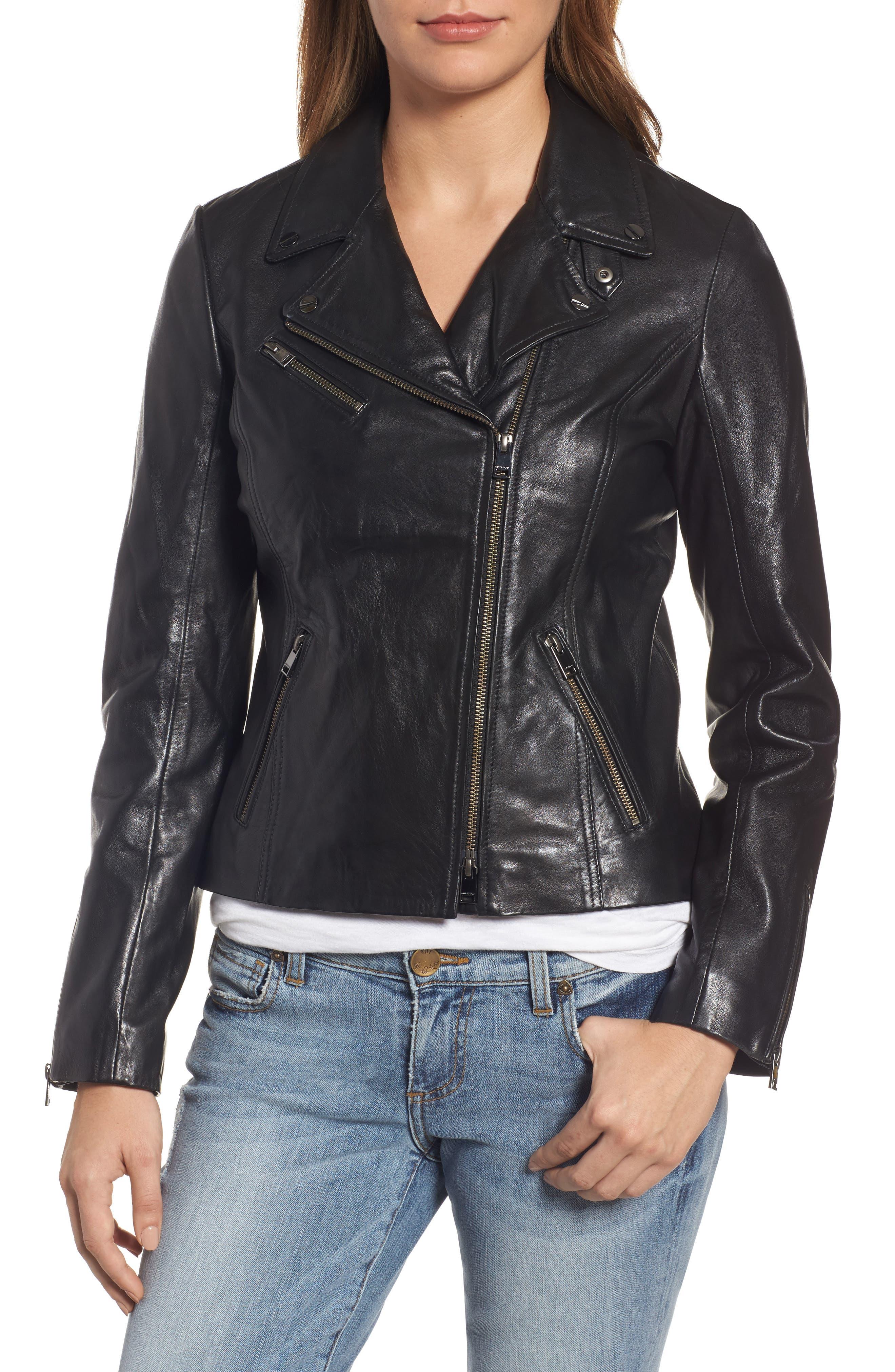 Asymmetrical Zip Leather Biker Jacket,                             Alternate thumbnail 6, color,                             Black