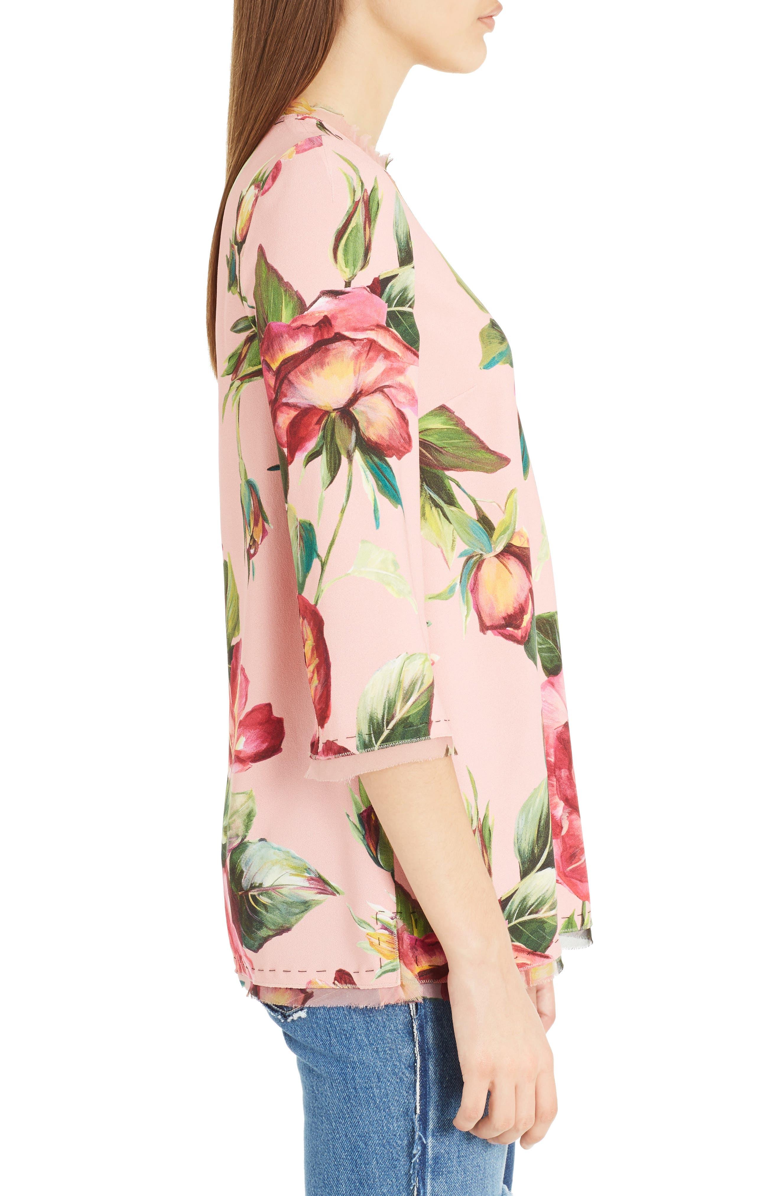 Alternate Image 4  - Dolce&Gabbana Rose Print Cady Blouse
