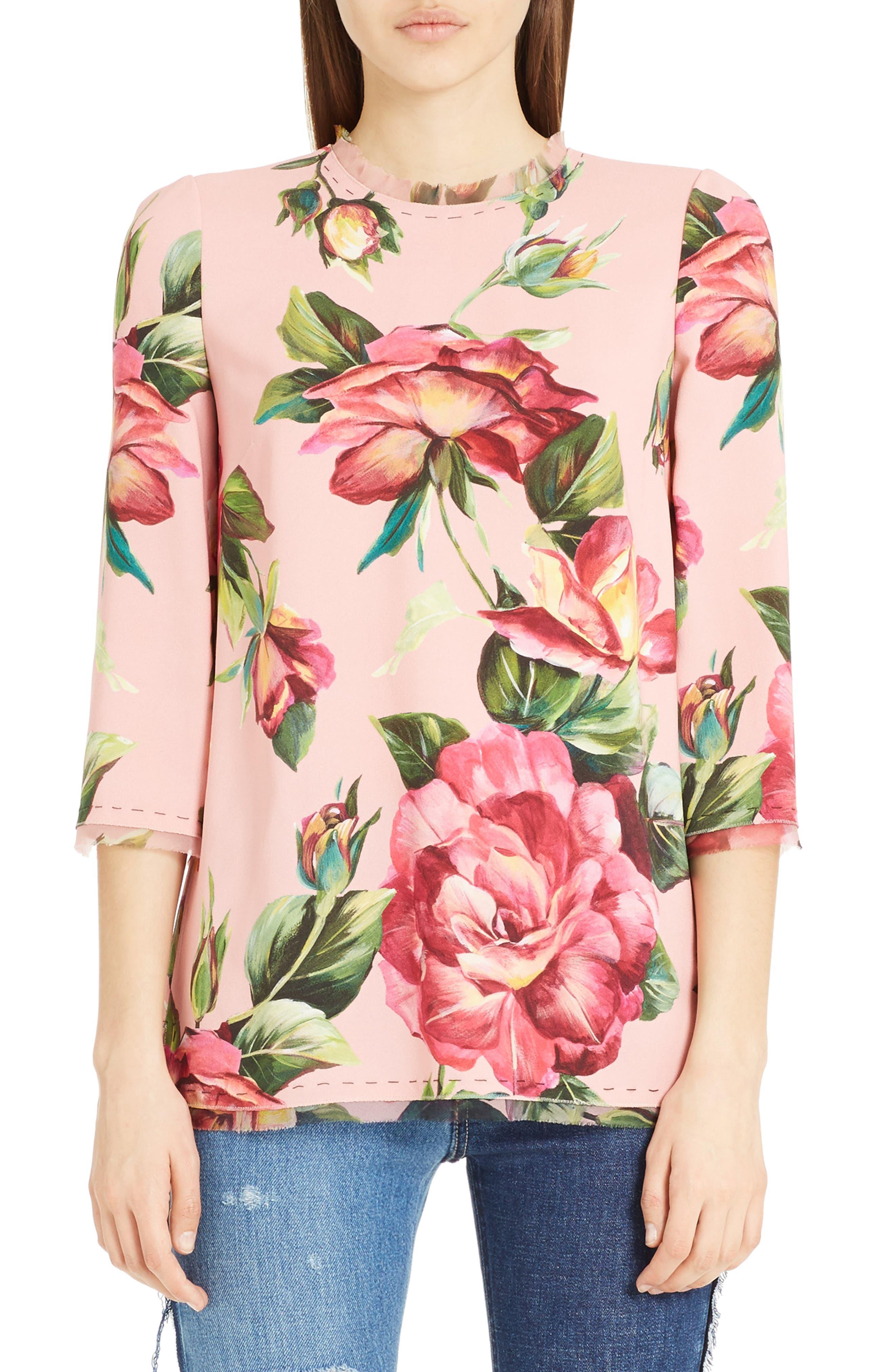 Alternate Image 1 Selected - Dolce&Gabbana Rose Print Cady Blouse