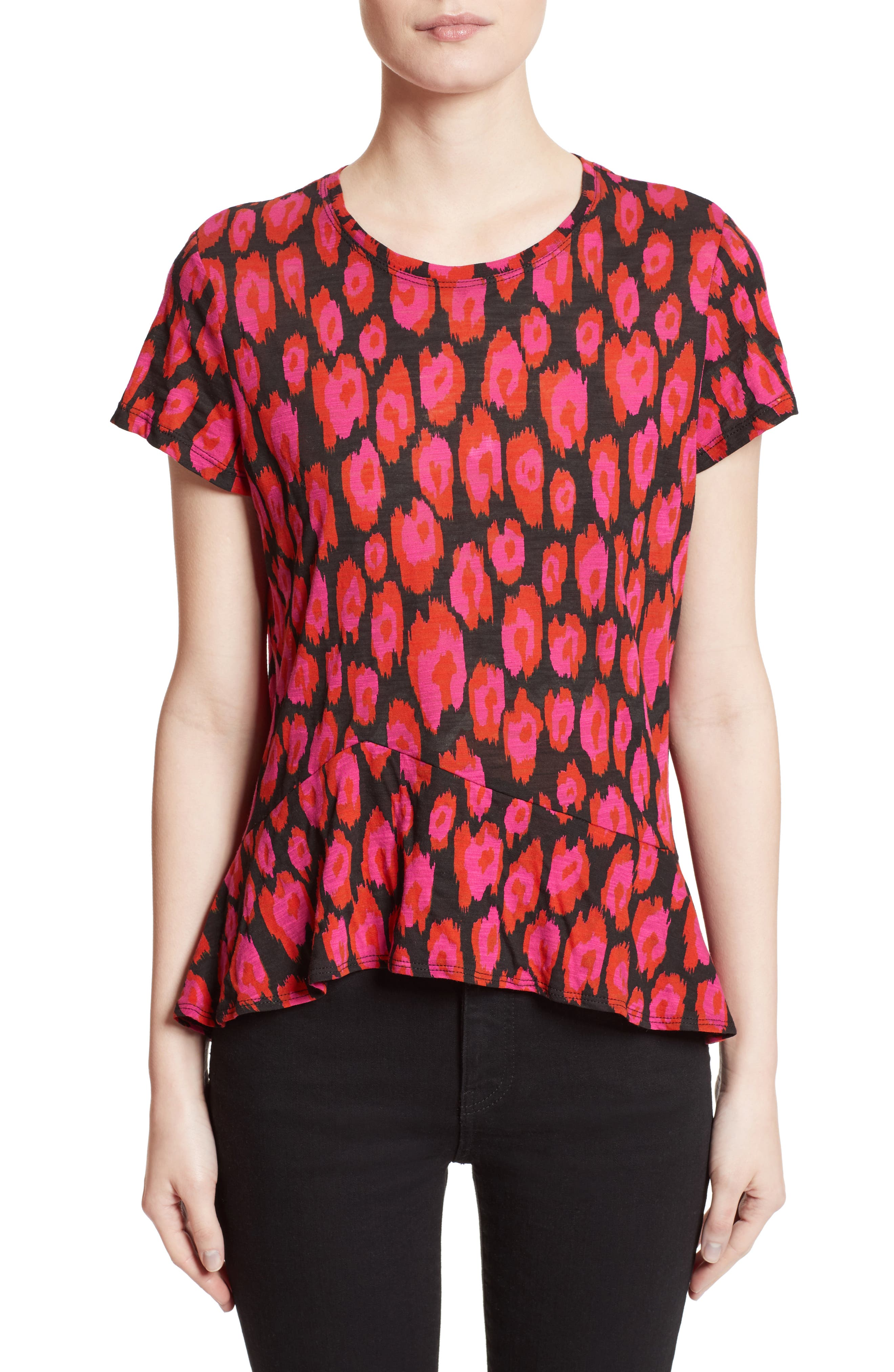 Asymmetrical Ruffle Tee,                             Main thumbnail 1, color,                             Black/ Electric Pink/ Pumpkin