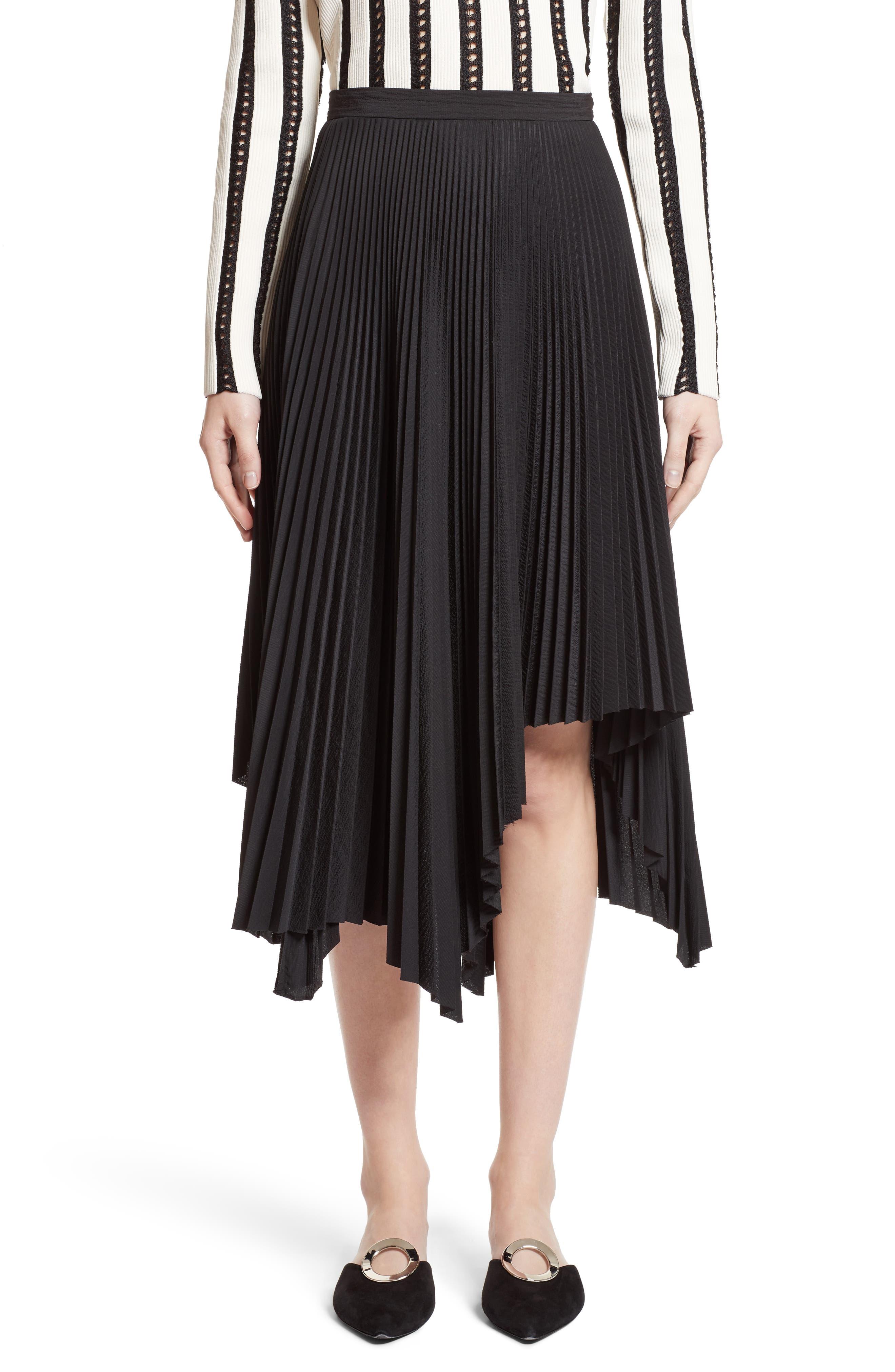 Pleated Handkerchief Hem Skirt,                             Main thumbnail 1, color,                             Black