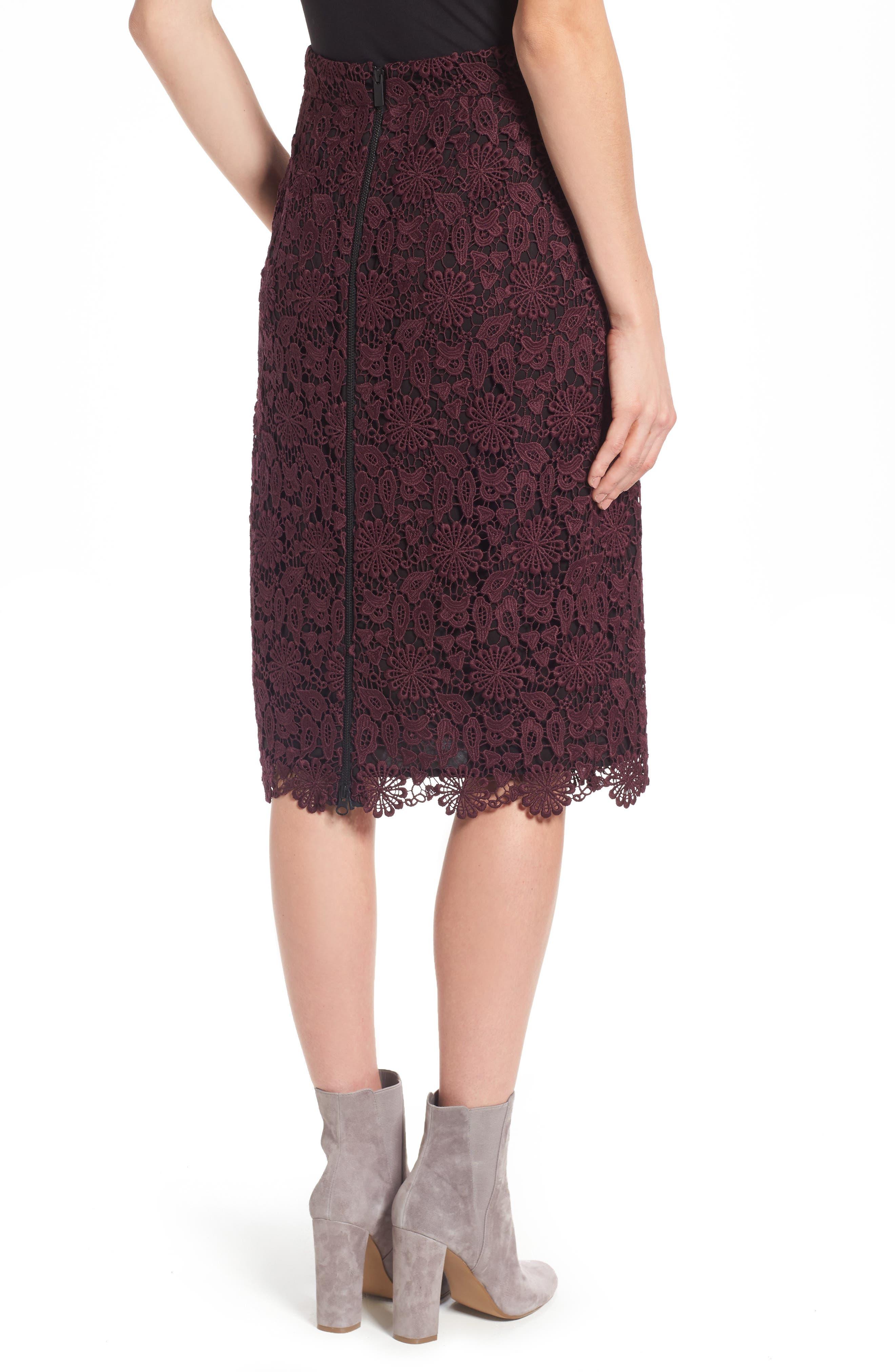 Alternate Image 2  - Halogen® Lace Pencil Skirt (Regular & Petite)