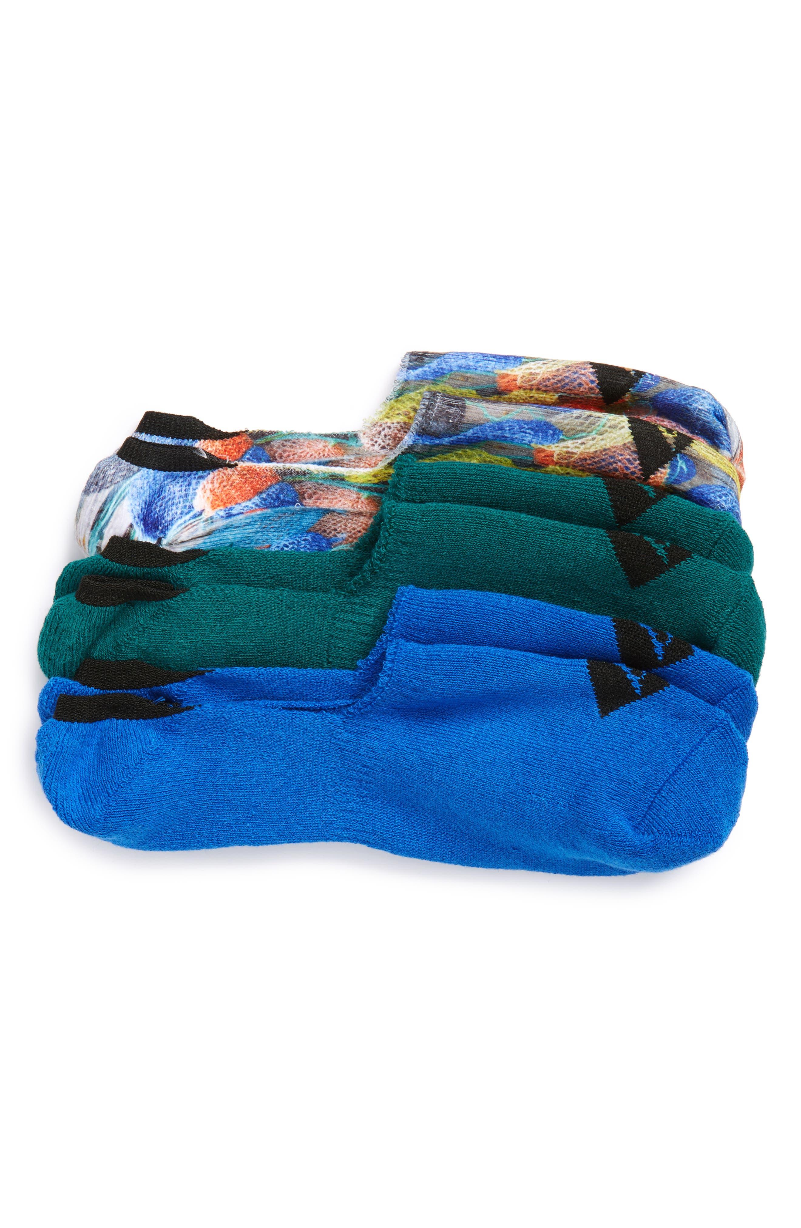 3-Pack Print Liner Socks,                         Main,                         color, Blue Multi/ Teal/ Blue
