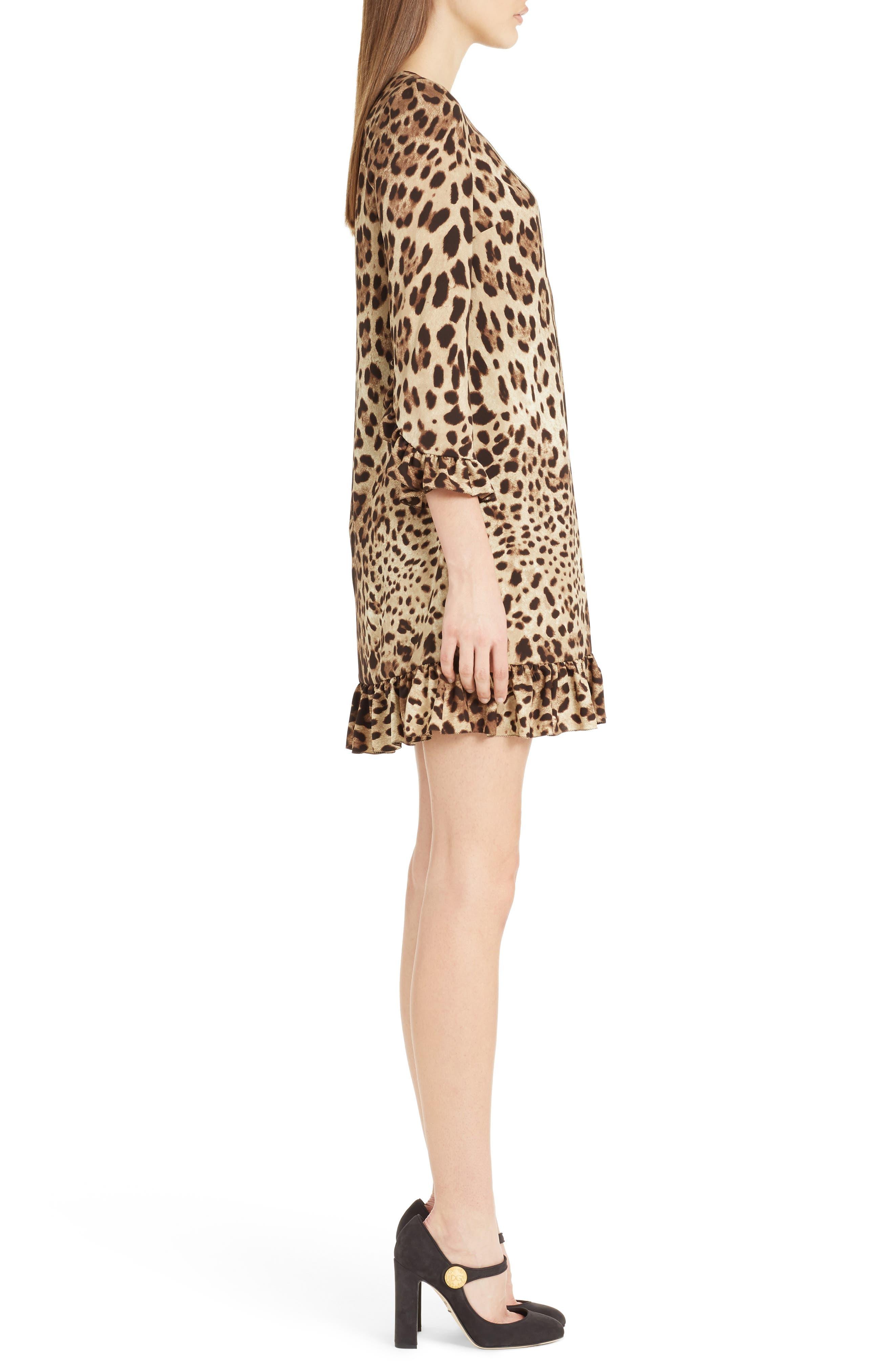 Leopard Print Stretch Silk Dress,                             Alternate thumbnail 3, color,                             Leopard