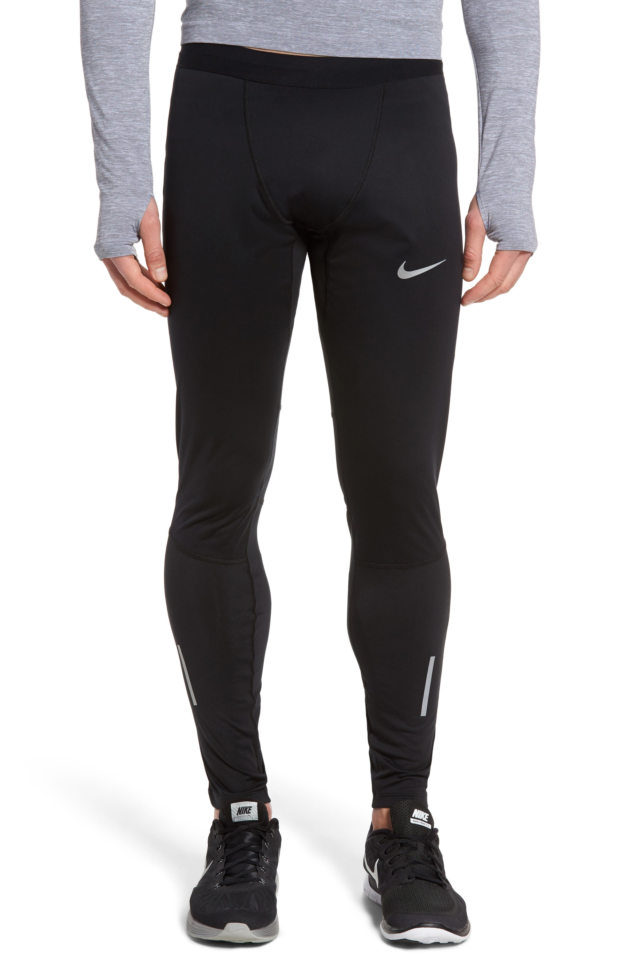 Shield Tech Weather Resistant Running Tights,                         Main,                         color, Black