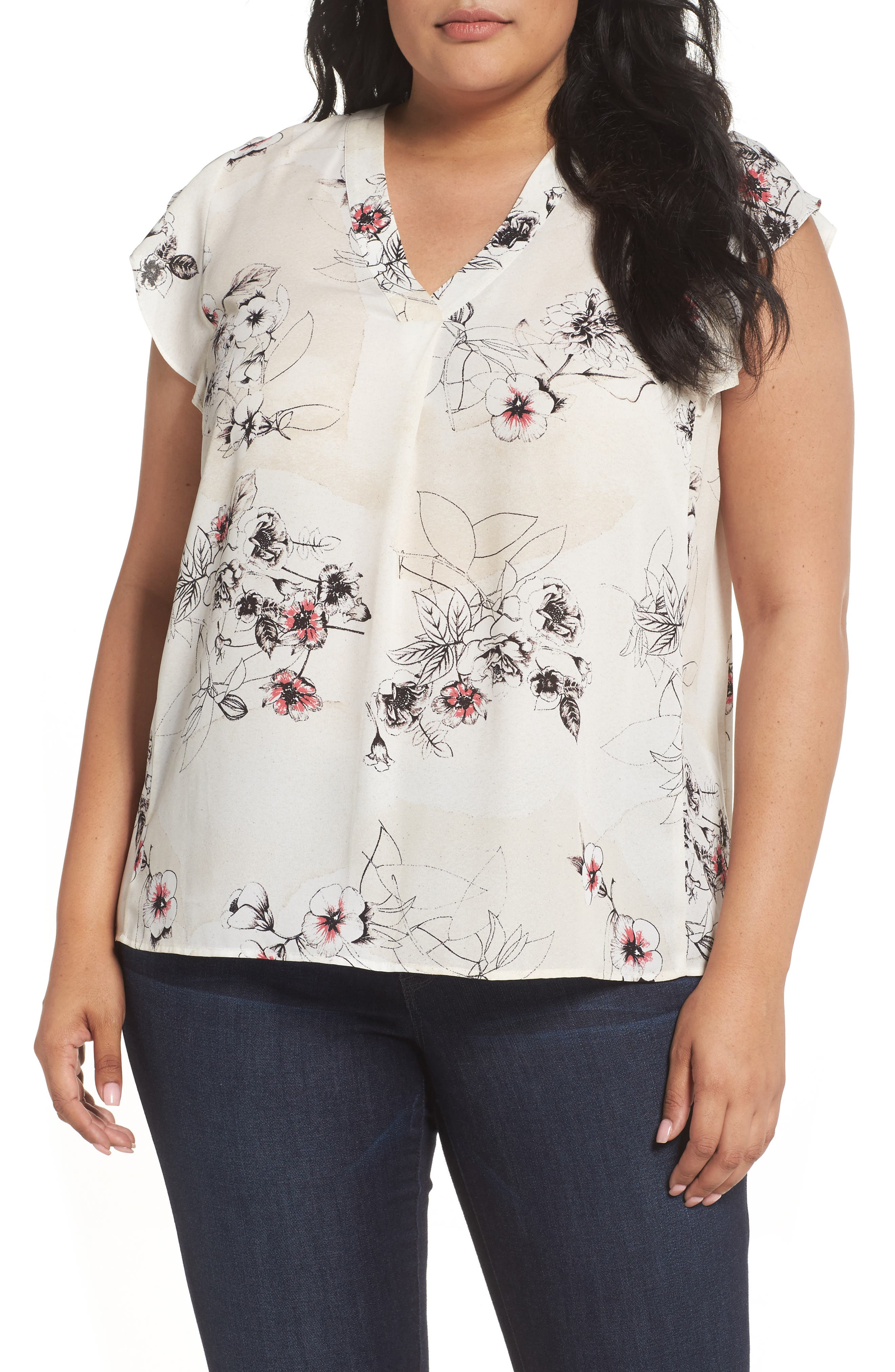 Sejour Flutter Sleeve V-Neck Top (Plus Size)