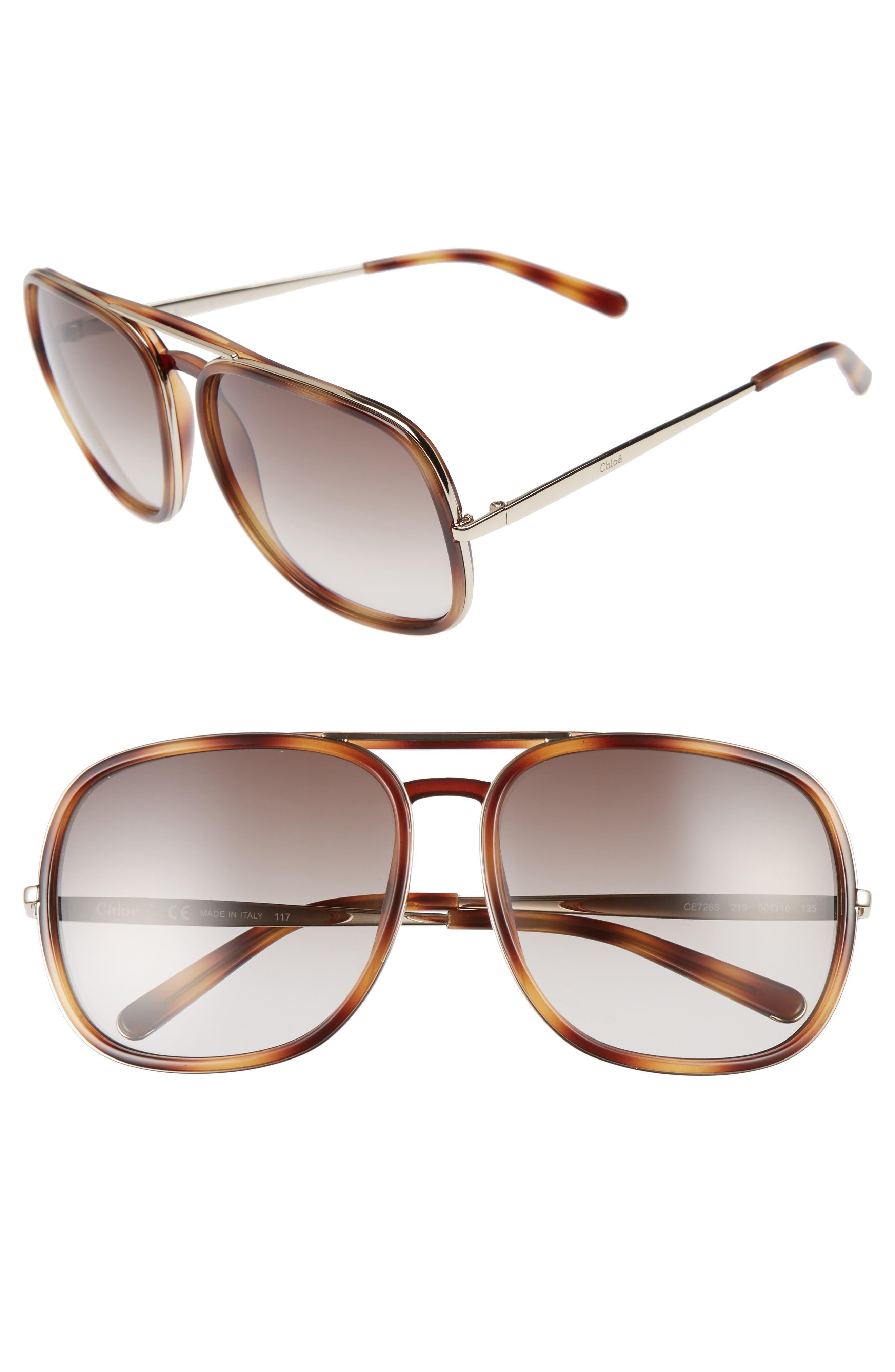 60mm Gradient Lens Navigator Sunglasses,                             Main thumbnail 1, color,                             Tortoise