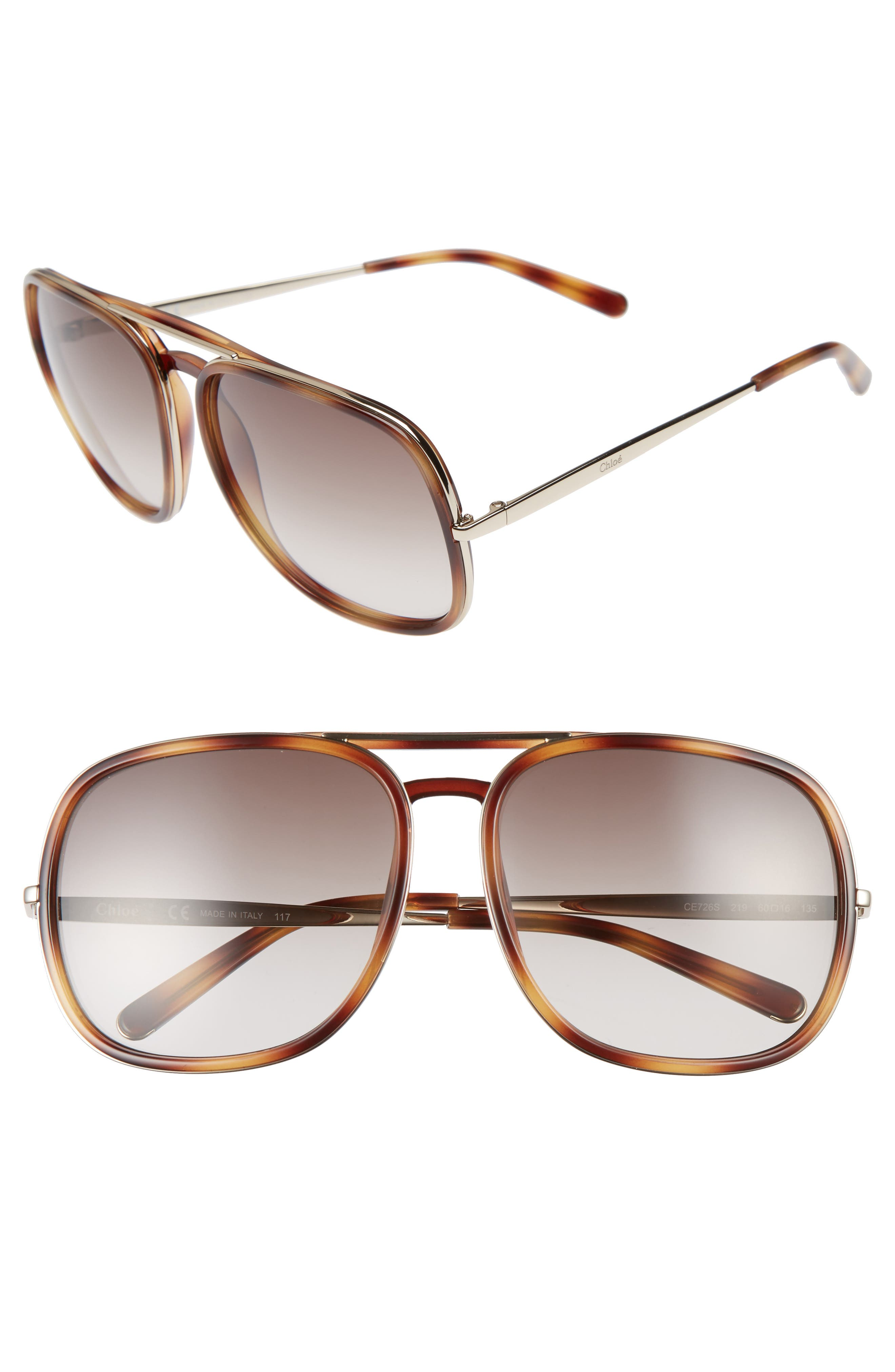 60mm Gradient Lens Navigator Sunglasses,                         Main,                         color, Tortoise