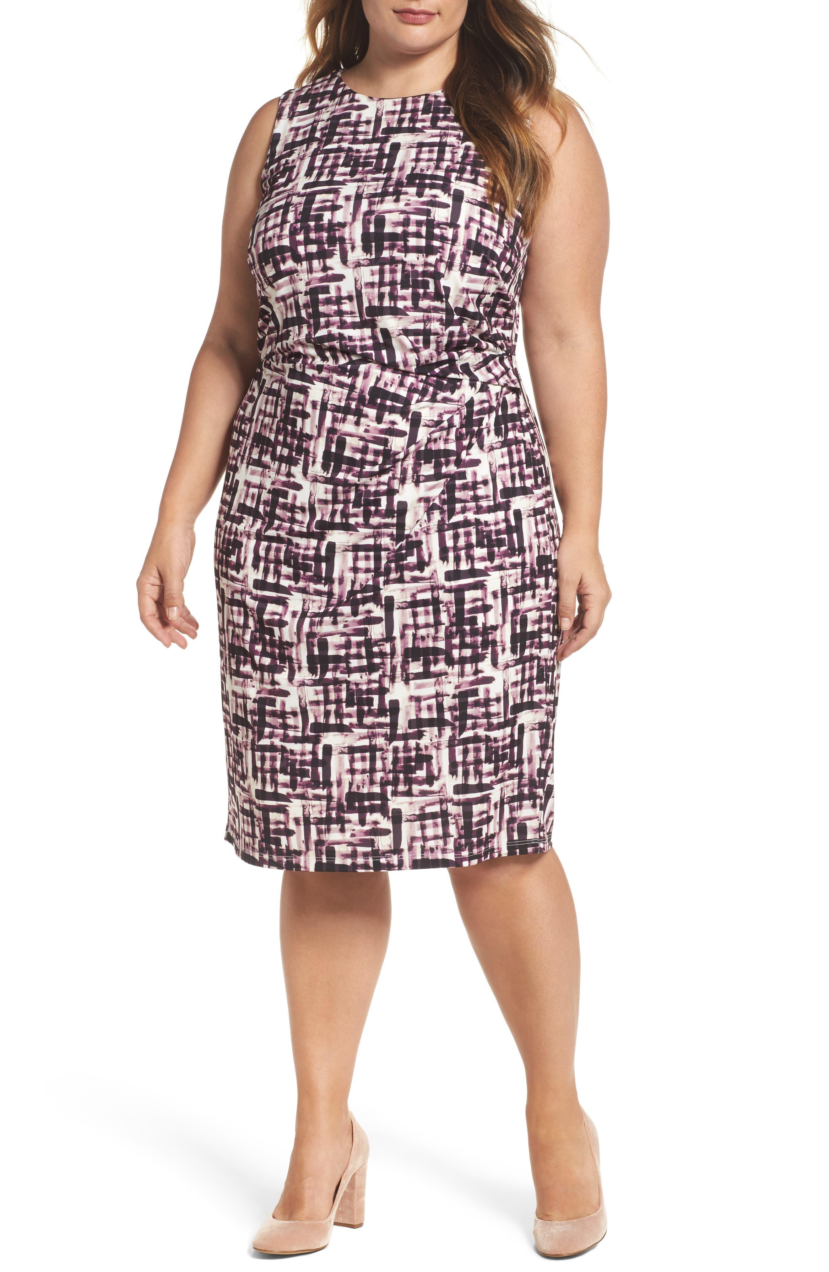 Eliza J Print Jersey Sheath Dress (Plus Size)
