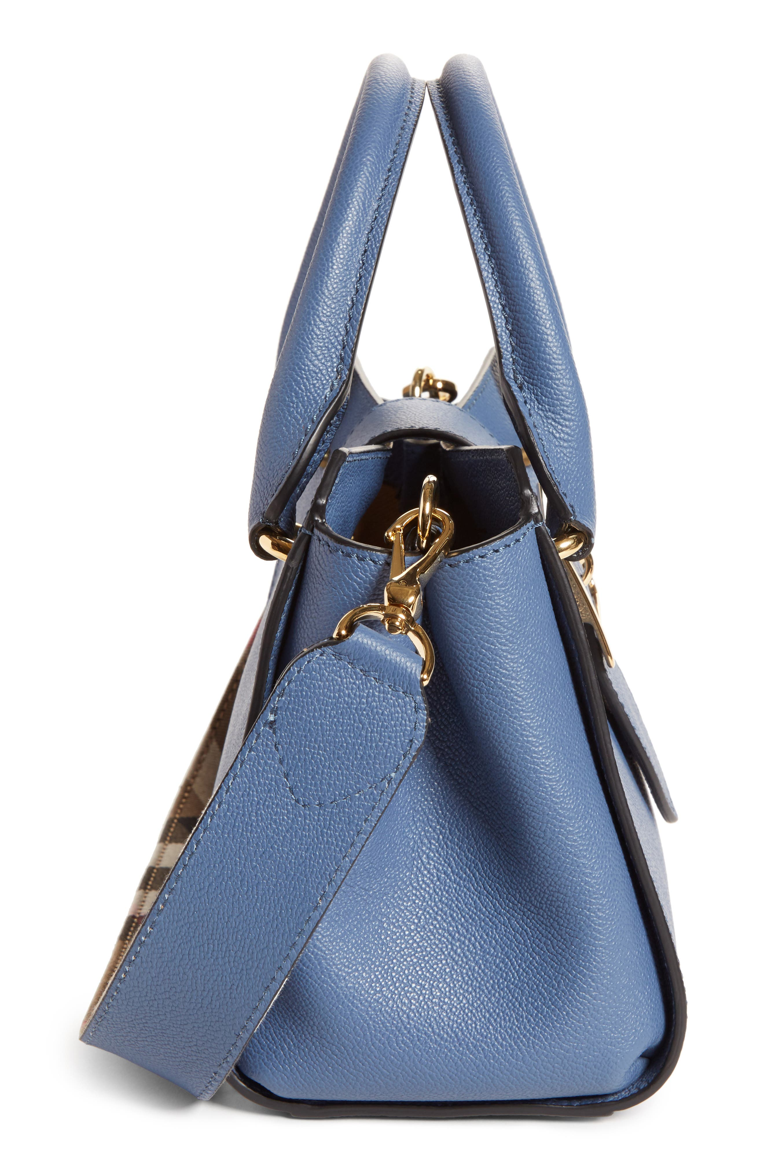 Small Buckle Leather Satchel,                             Alternate thumbnail 5, color,                             Steel Blue