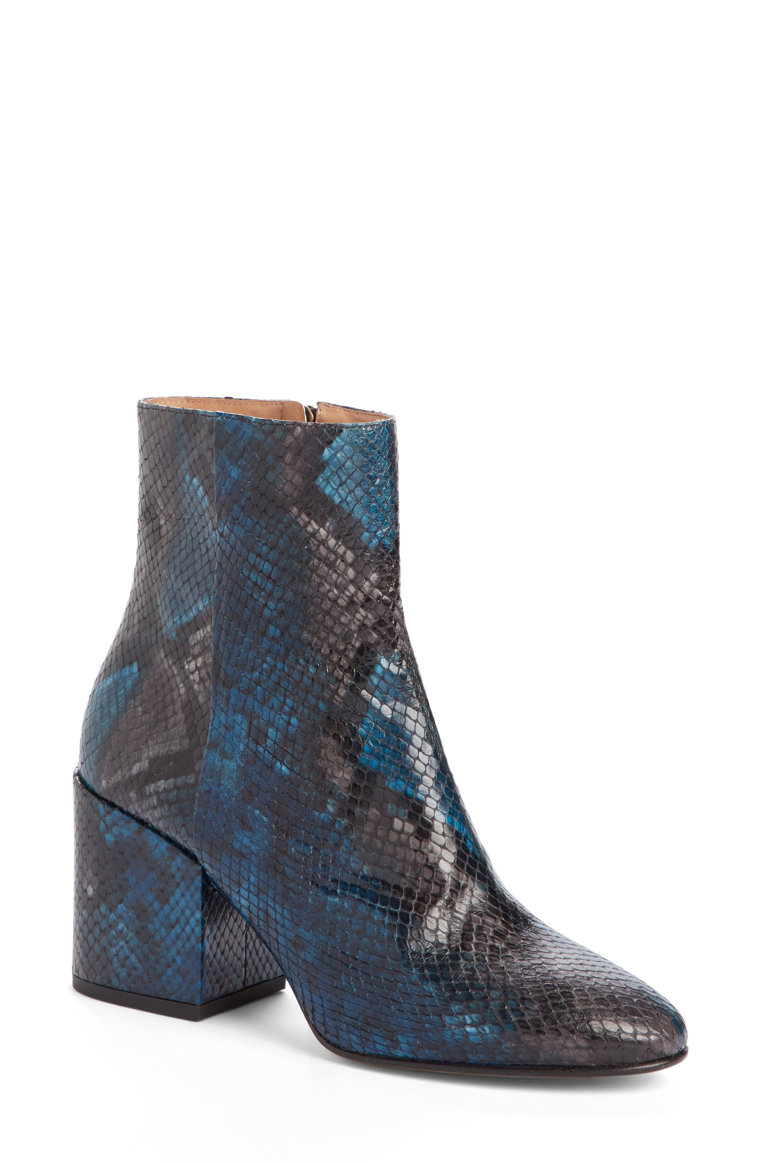 Snake Embossed Bootie,                         Main,                         color, Blue