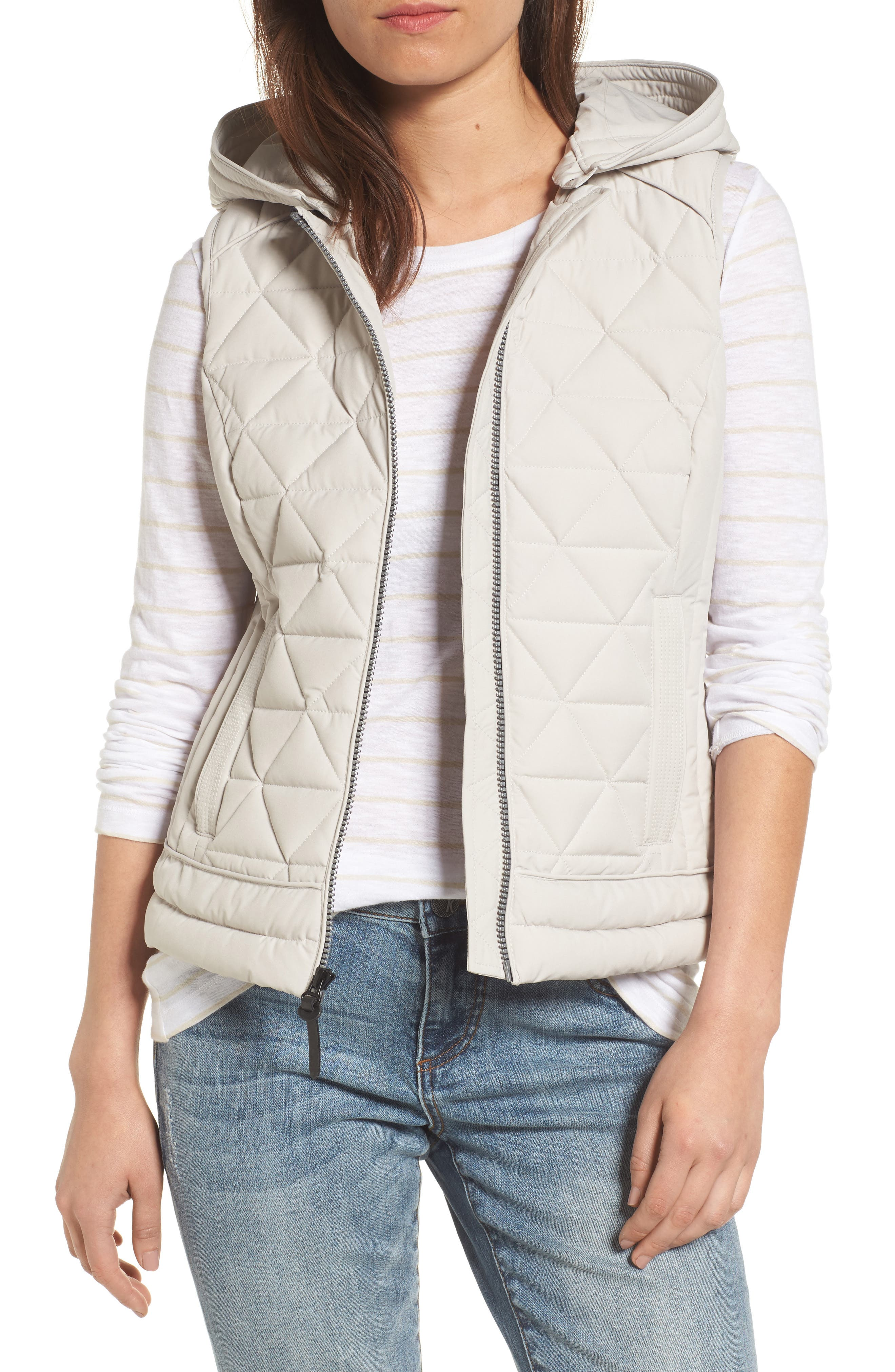 Sage Hooded Quilted Vest,                             Main thumbnail 1, color,                             Fog