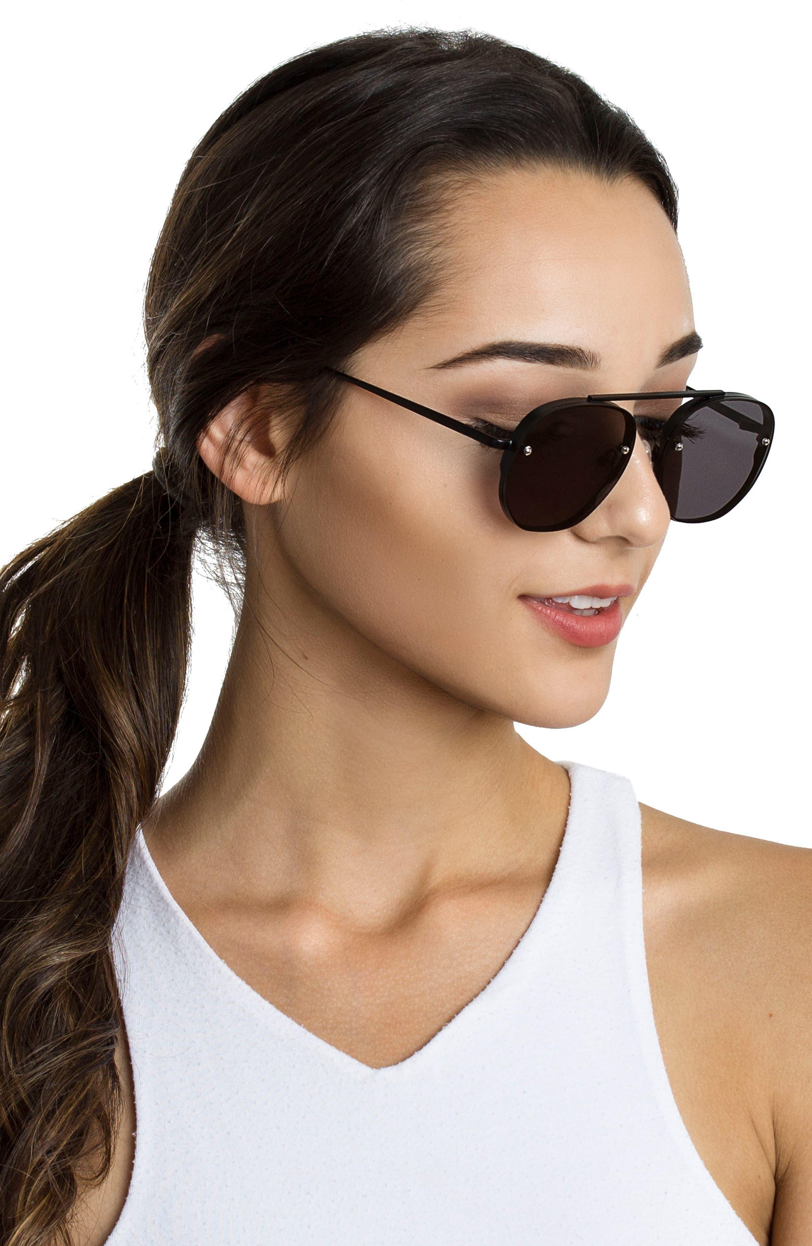 Traction 52mm Aviator Sunglasses,                             Alternate thumbnail 2, color,                             Gravity Black