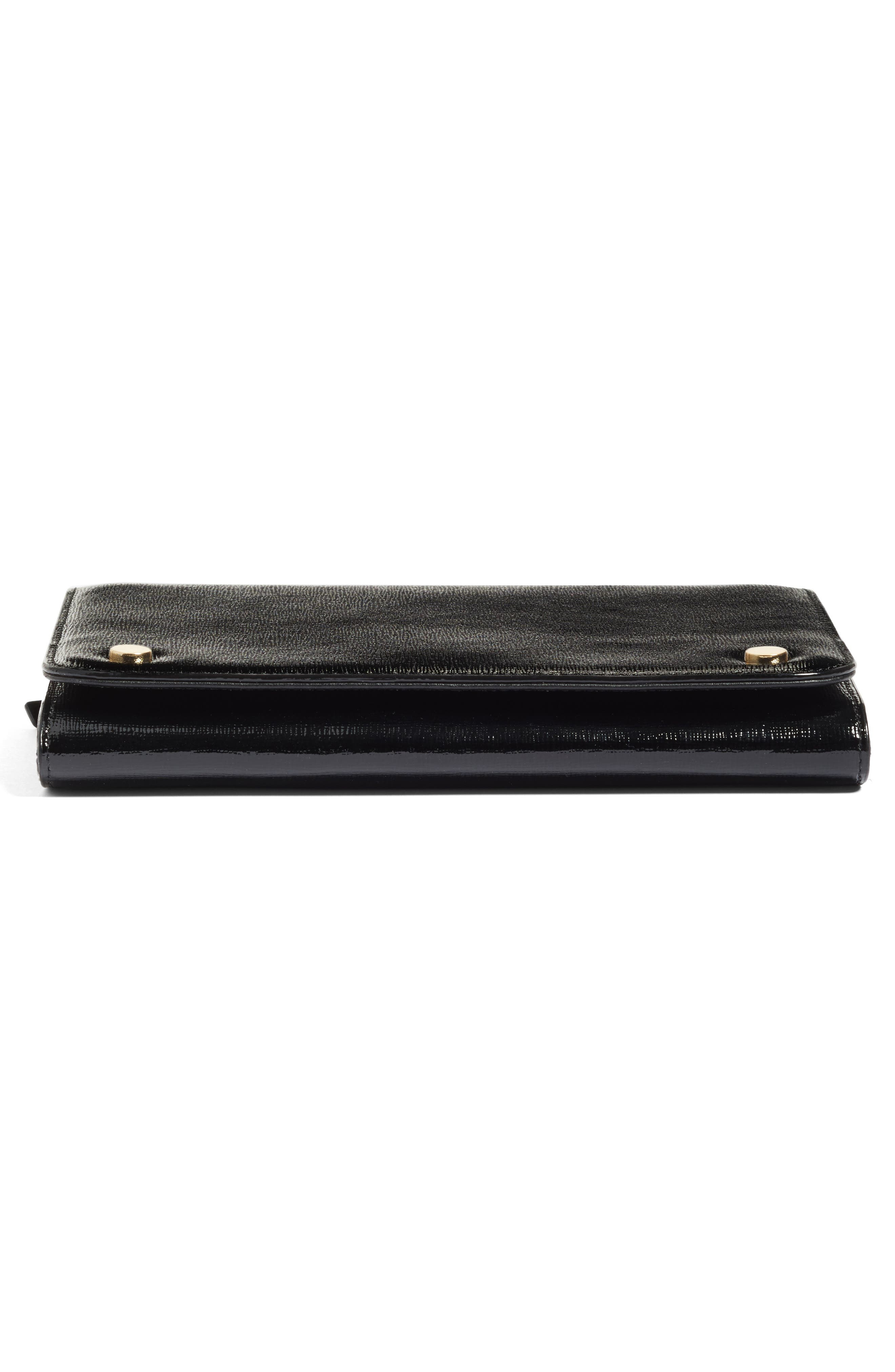 Leather Wallet on a Chain,                             Alternate thumbnail 6, color,                             Black Saffiano