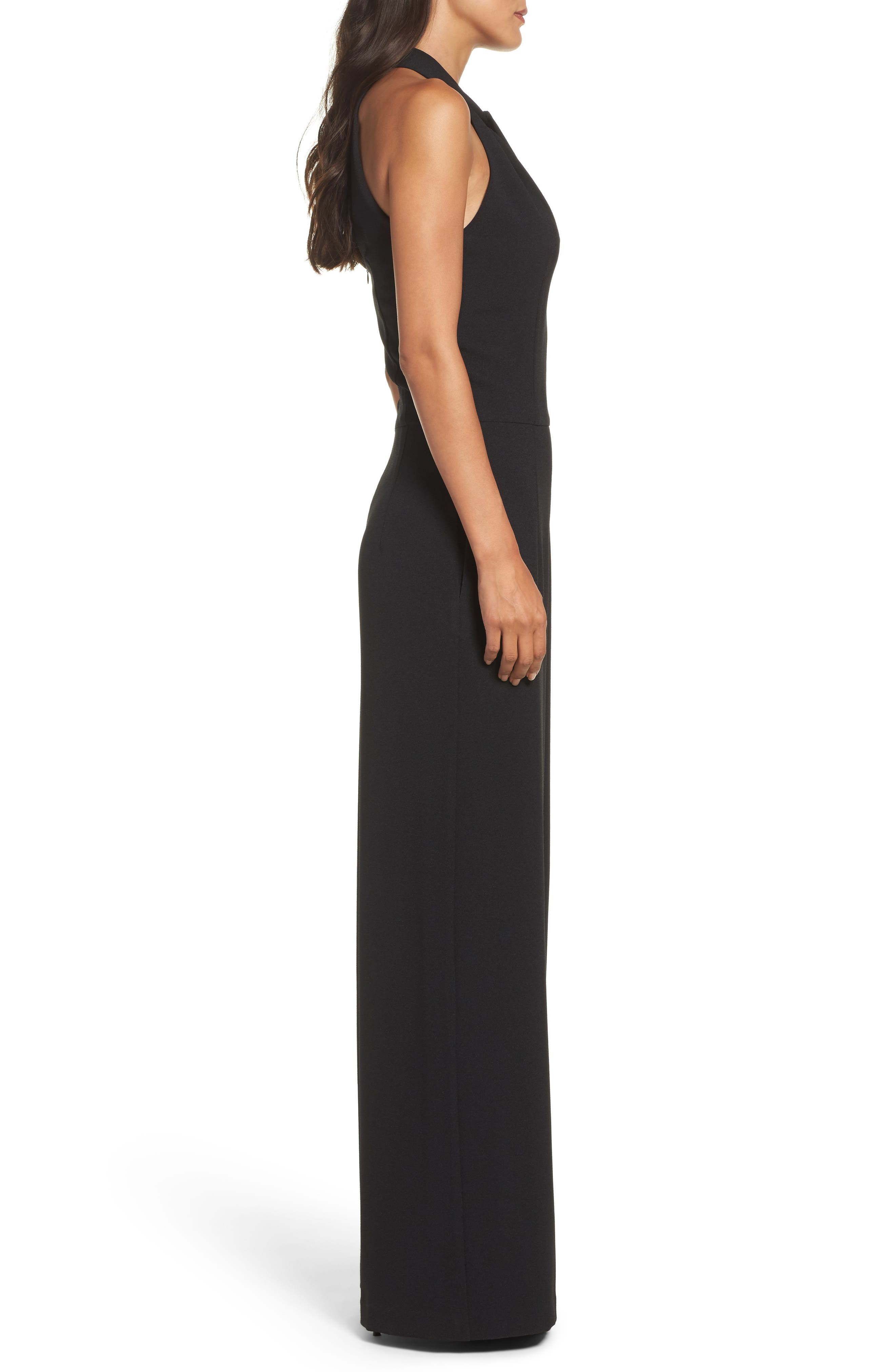 Halter Neck Jumpsuit,                             Alternate thumbnail 3, color,                             Black