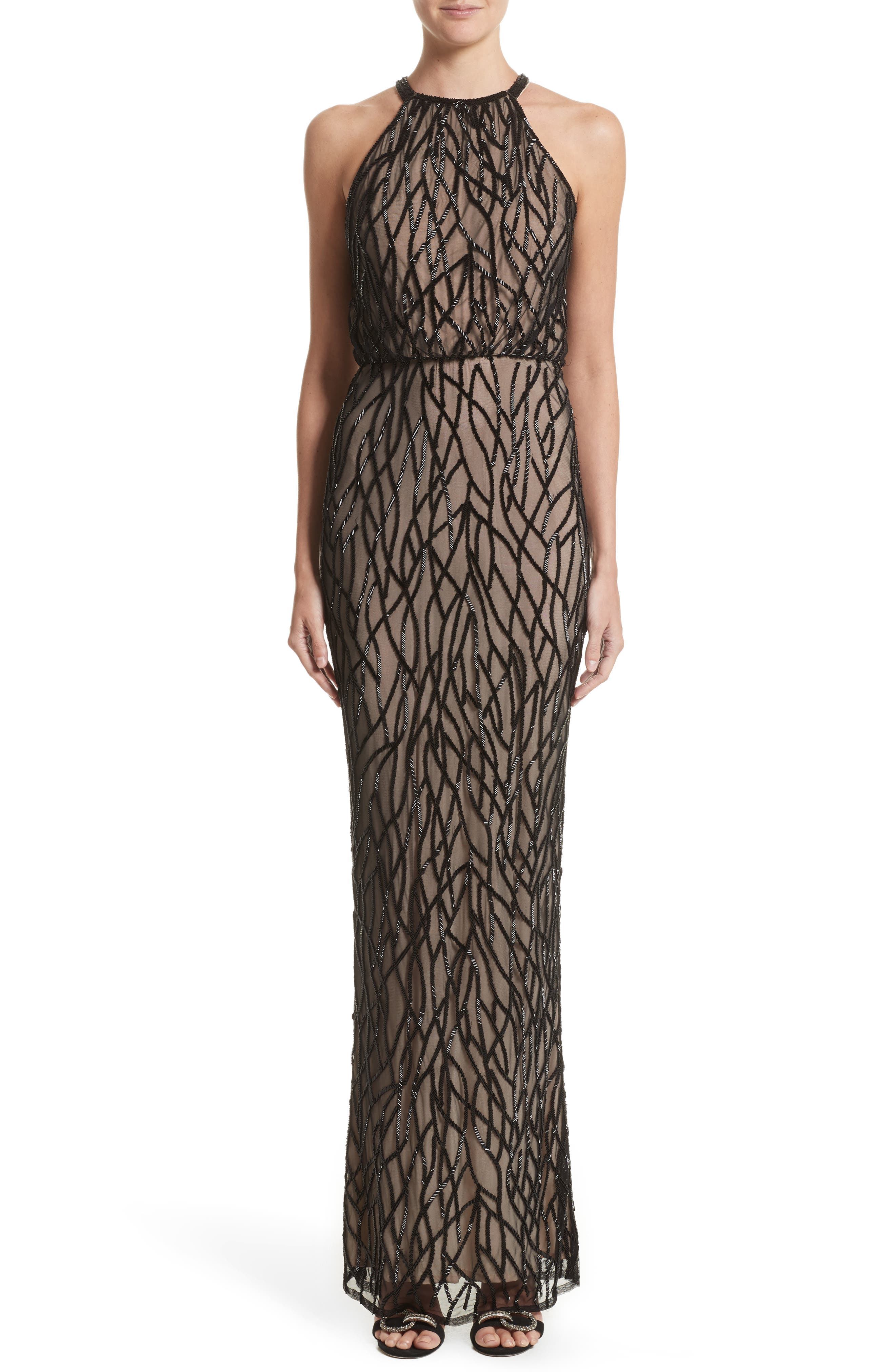 Toriana Beaded Mesh Gown,                         Main,                         color, Black