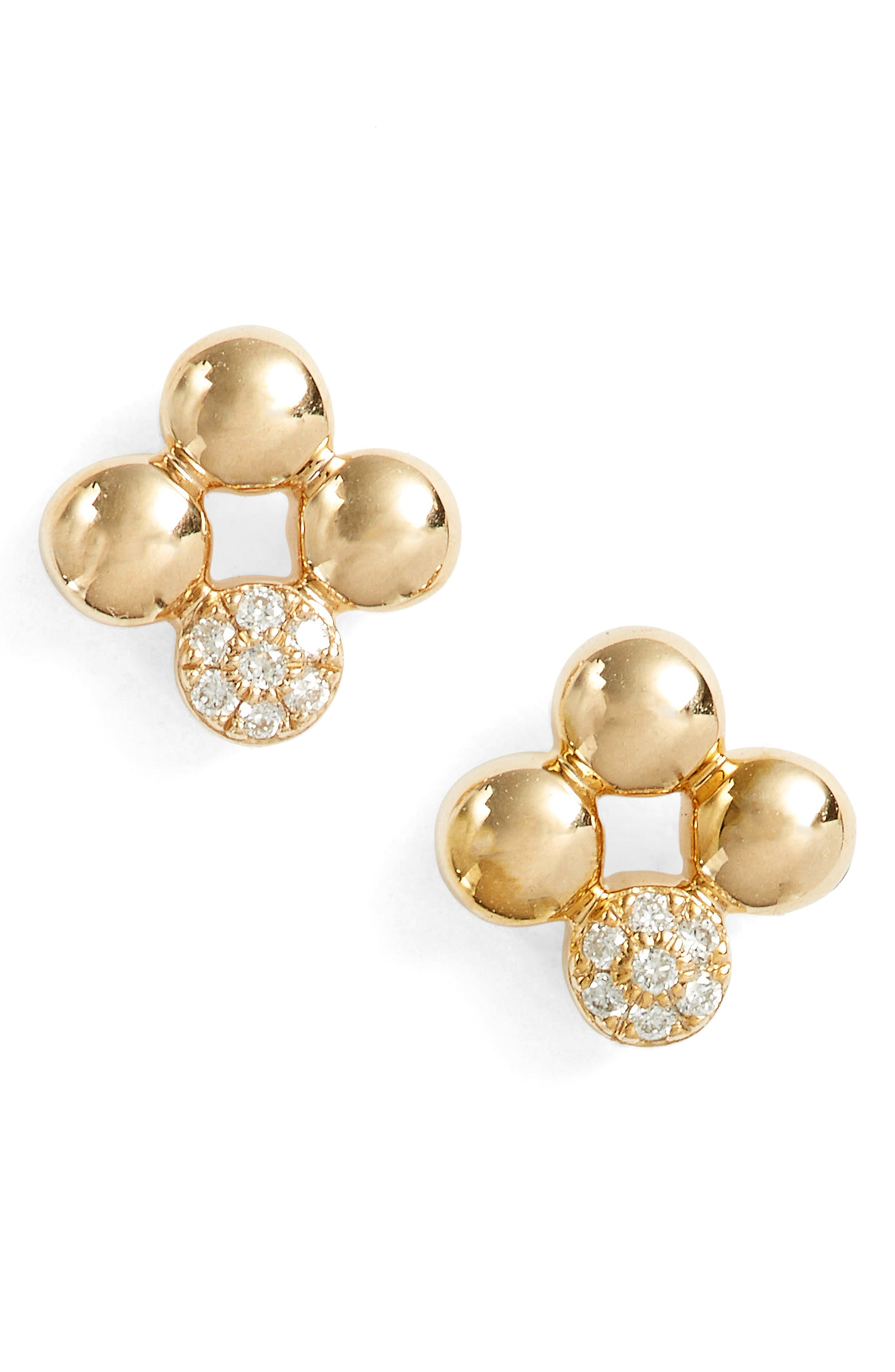 Poppy Rae Clover Diamond Stud Earrings,                             Main thumbnail 1, color,                             Yellow Gold